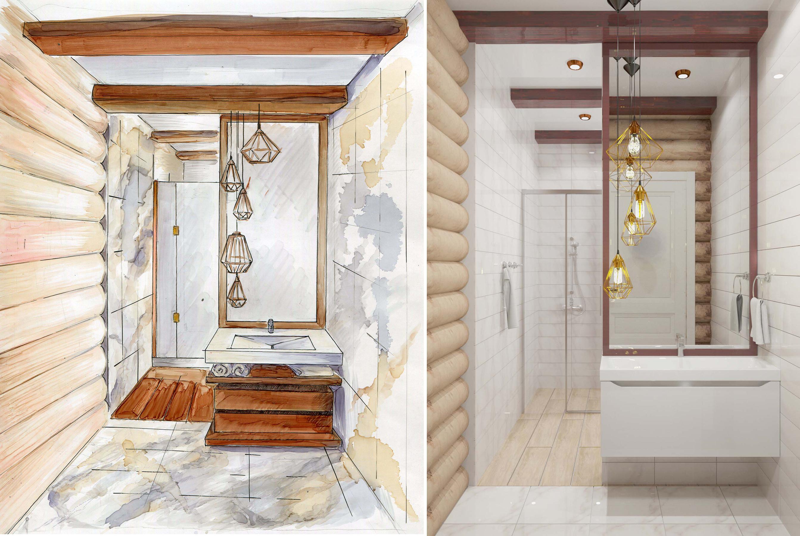 Дизайн интерьера ванной комнаты в деревянном доме