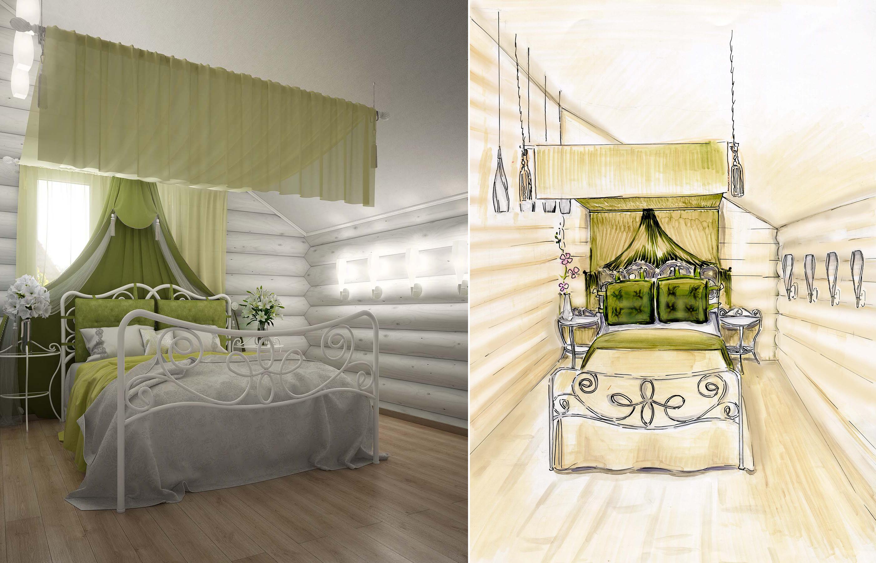 Дизайн интерьера спальни в деревянном доме