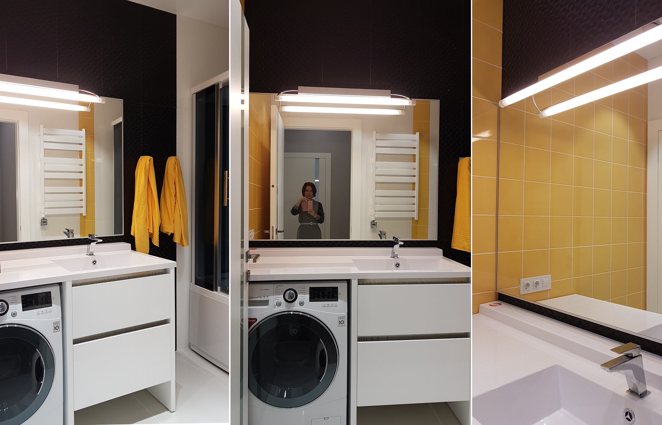 Реализованный интерьер ванной комнаты (как стало)