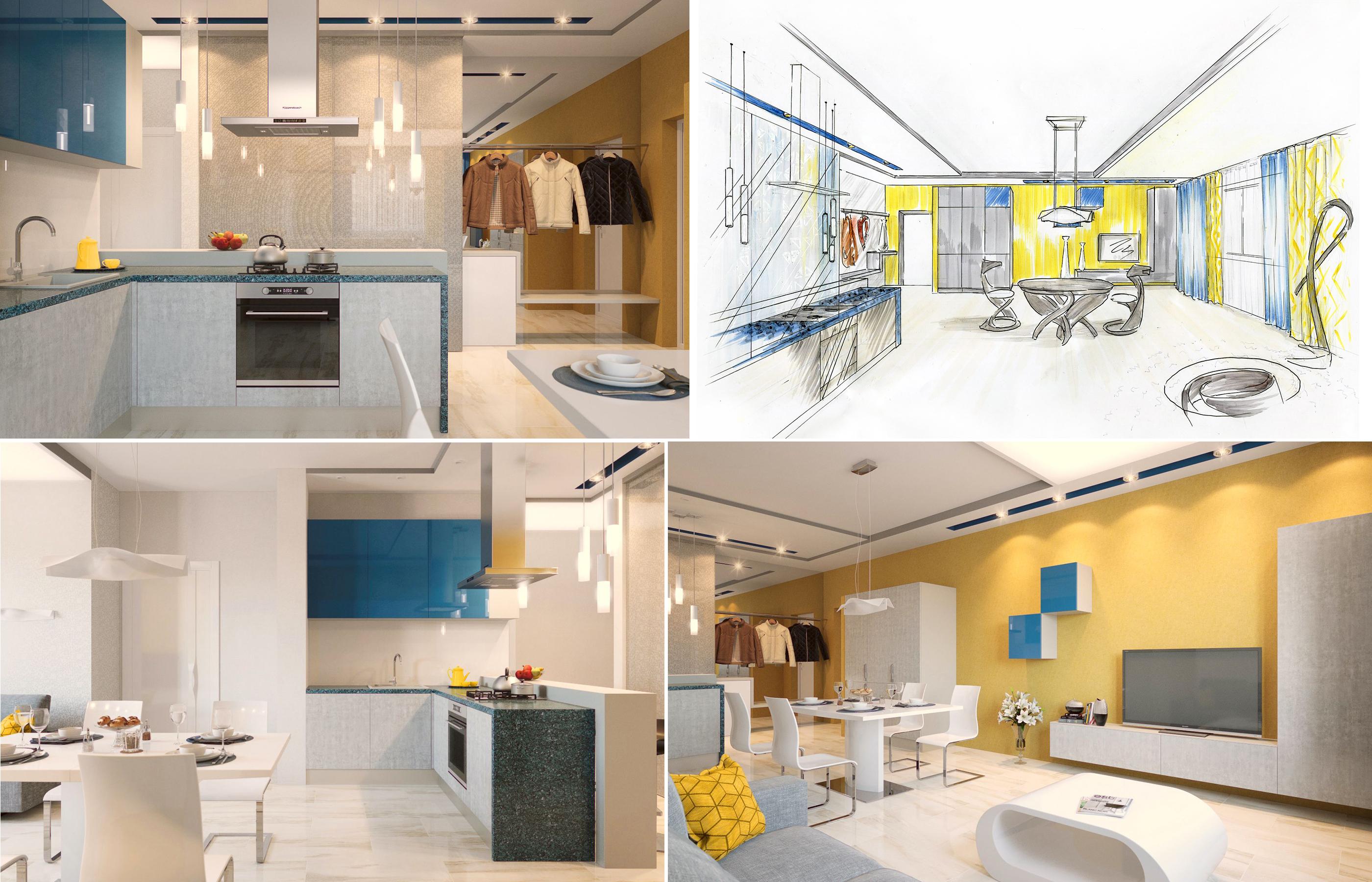 Проект дизайна интерьера гостиной в желто-синей цветовой гамме