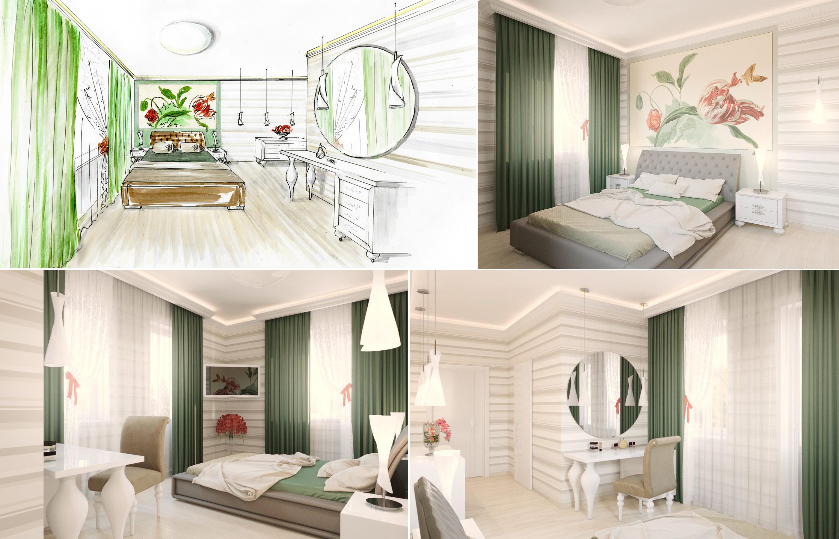 Эскиз спальни и 3Д визуализация интерьера спальни