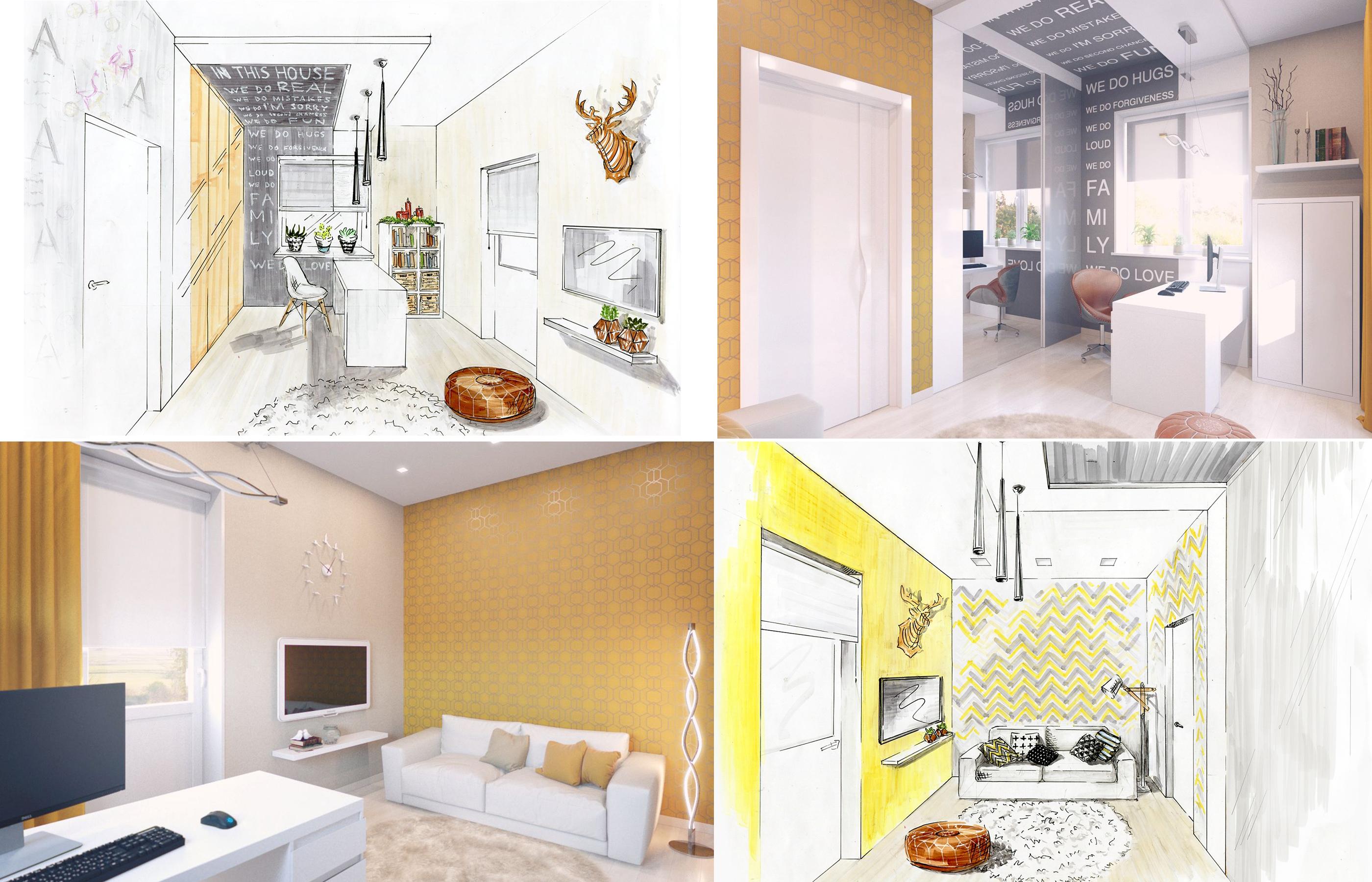 Проект дизайна интерьера кабинета