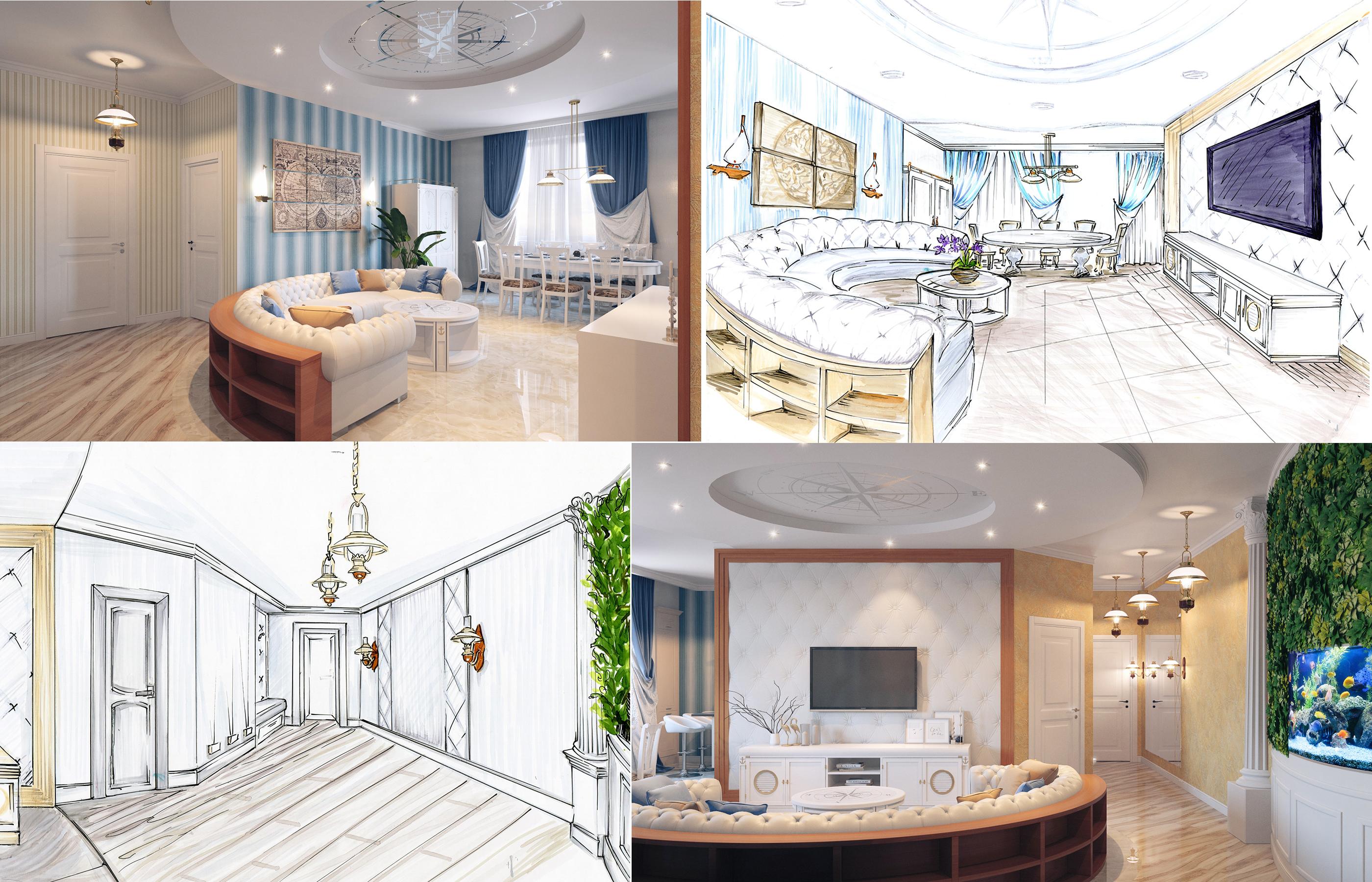 Эскизы и 3Д визуализация интерьера гостиной в морском стиле