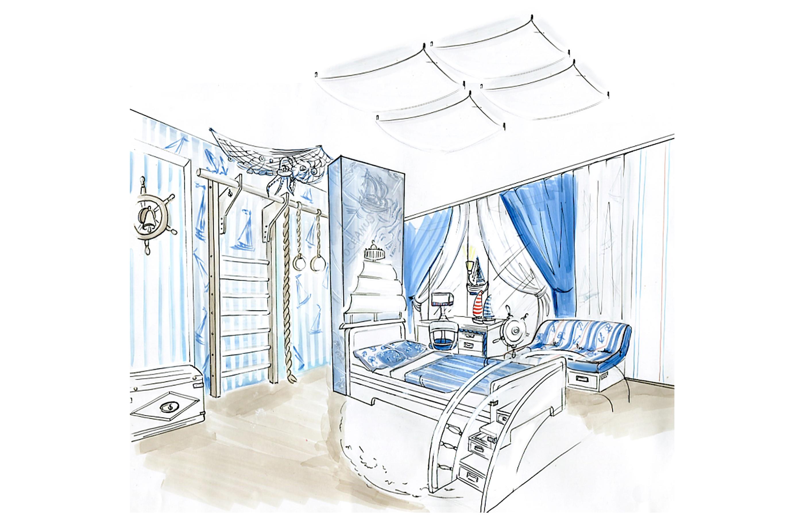 Эскиз дизайна интерьера комнаты мальчика в морском стиле