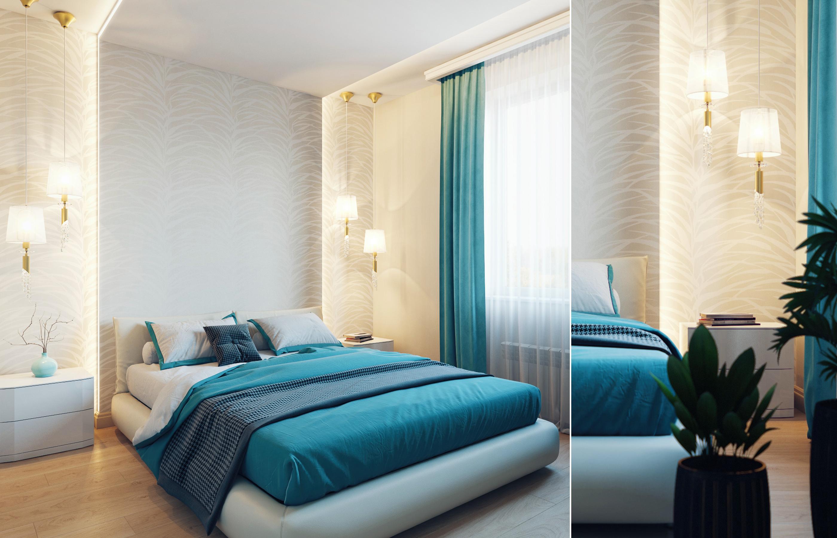 ЗД визуализация интерьера спальни