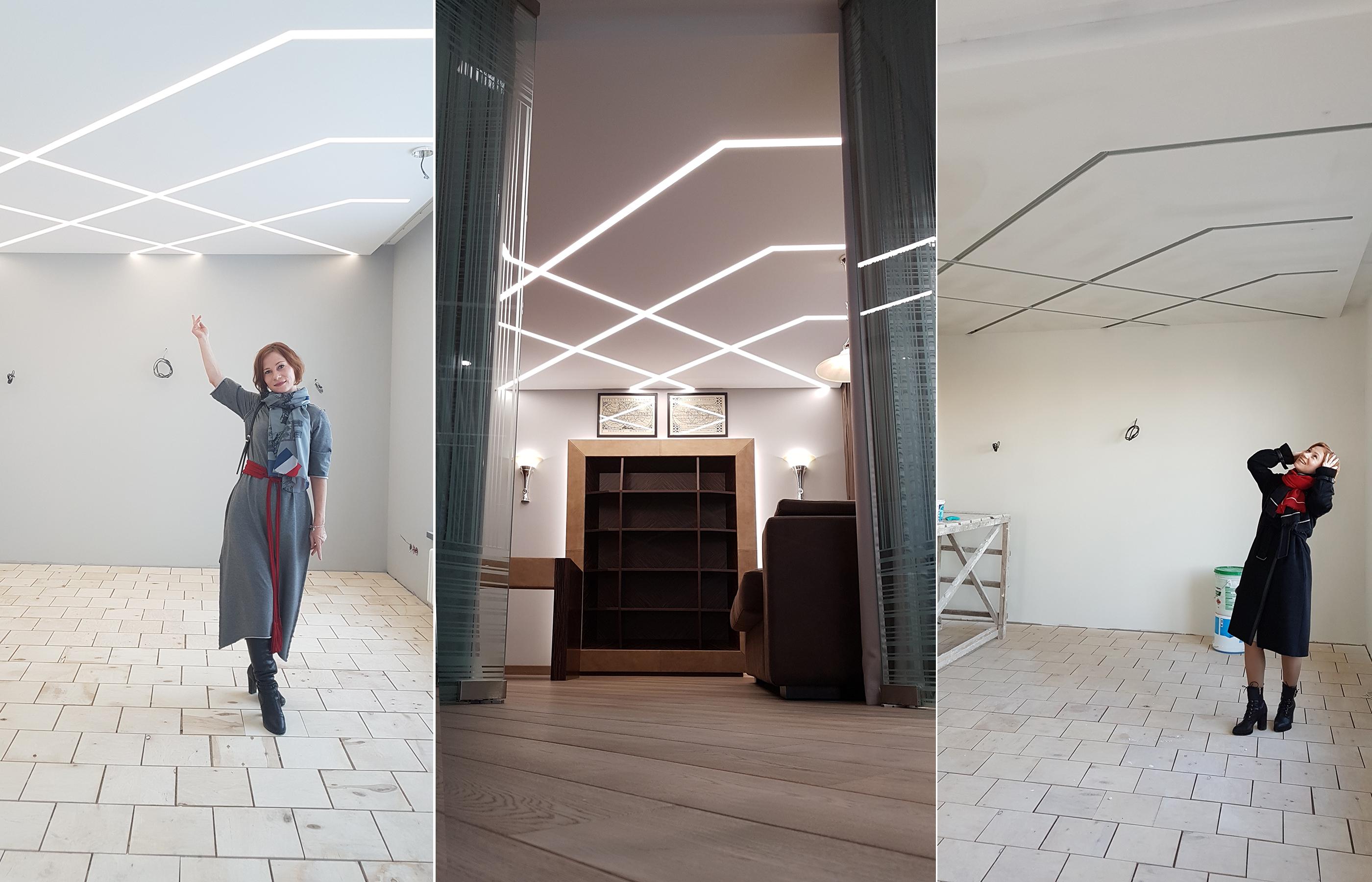 Светящийся рисунок на потолке создан с помощью линейных встроенных светильников