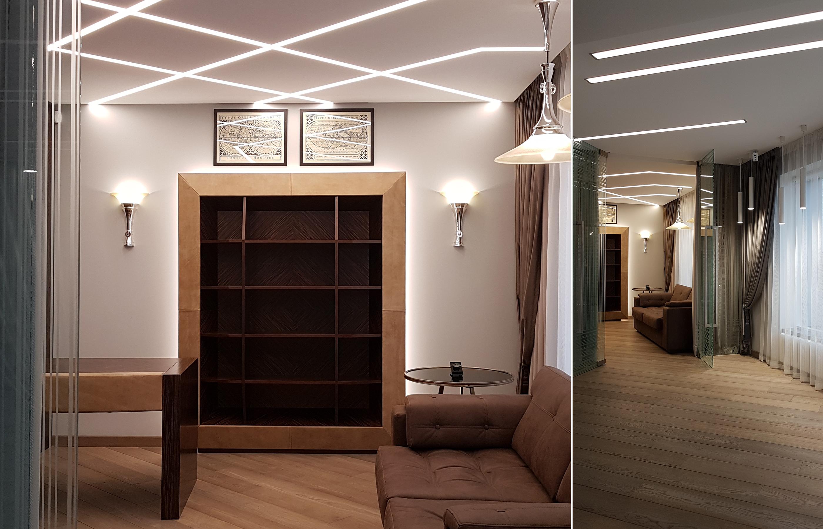 Мебель в кабинете сделана из шпона зебрано в технике маркетри с отделкой из натуральной кожи