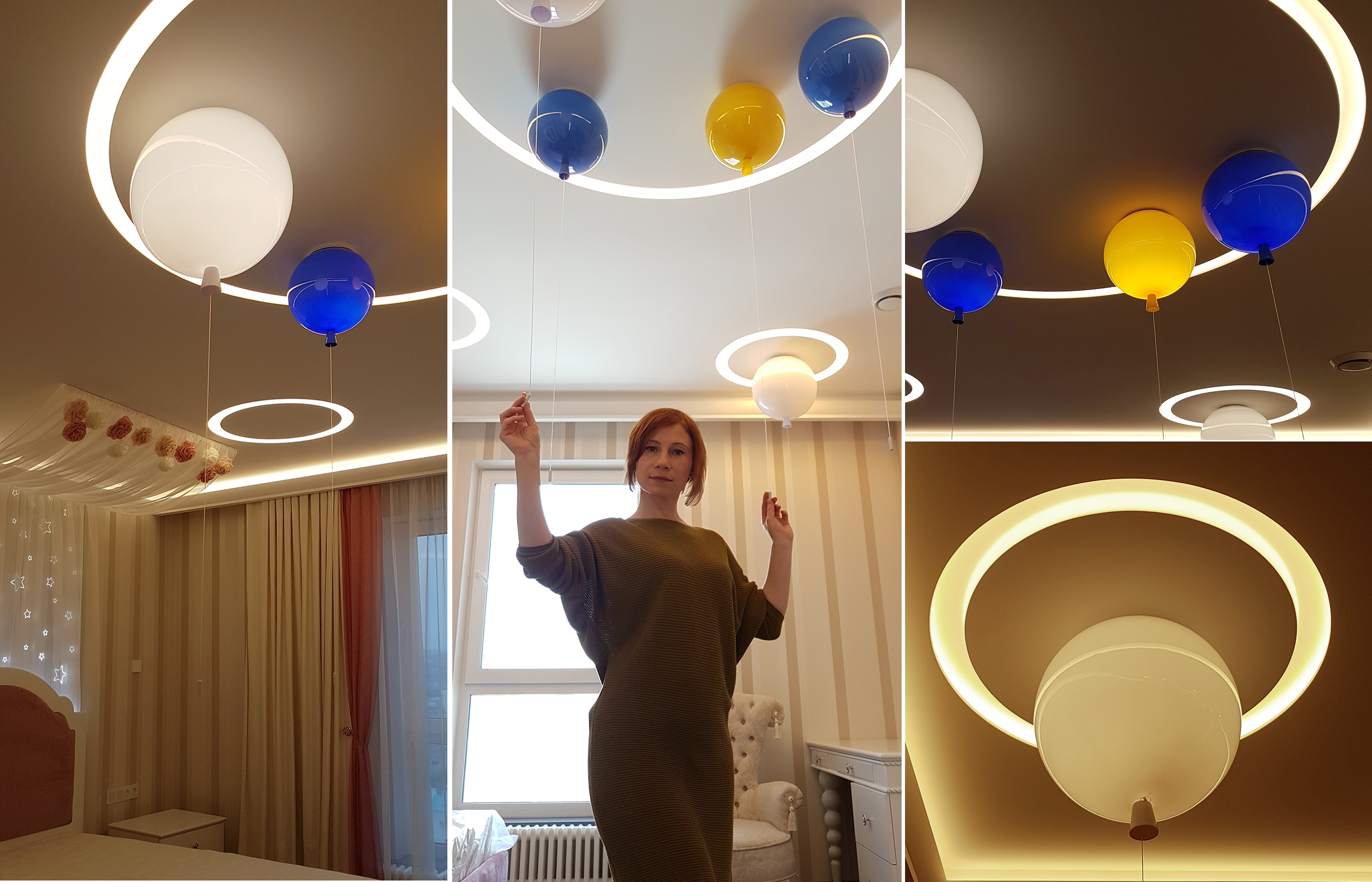 Светильники - воздушные шары по потолком. Каждый может включаться-выключаться индивидуально, своей веревочкой.