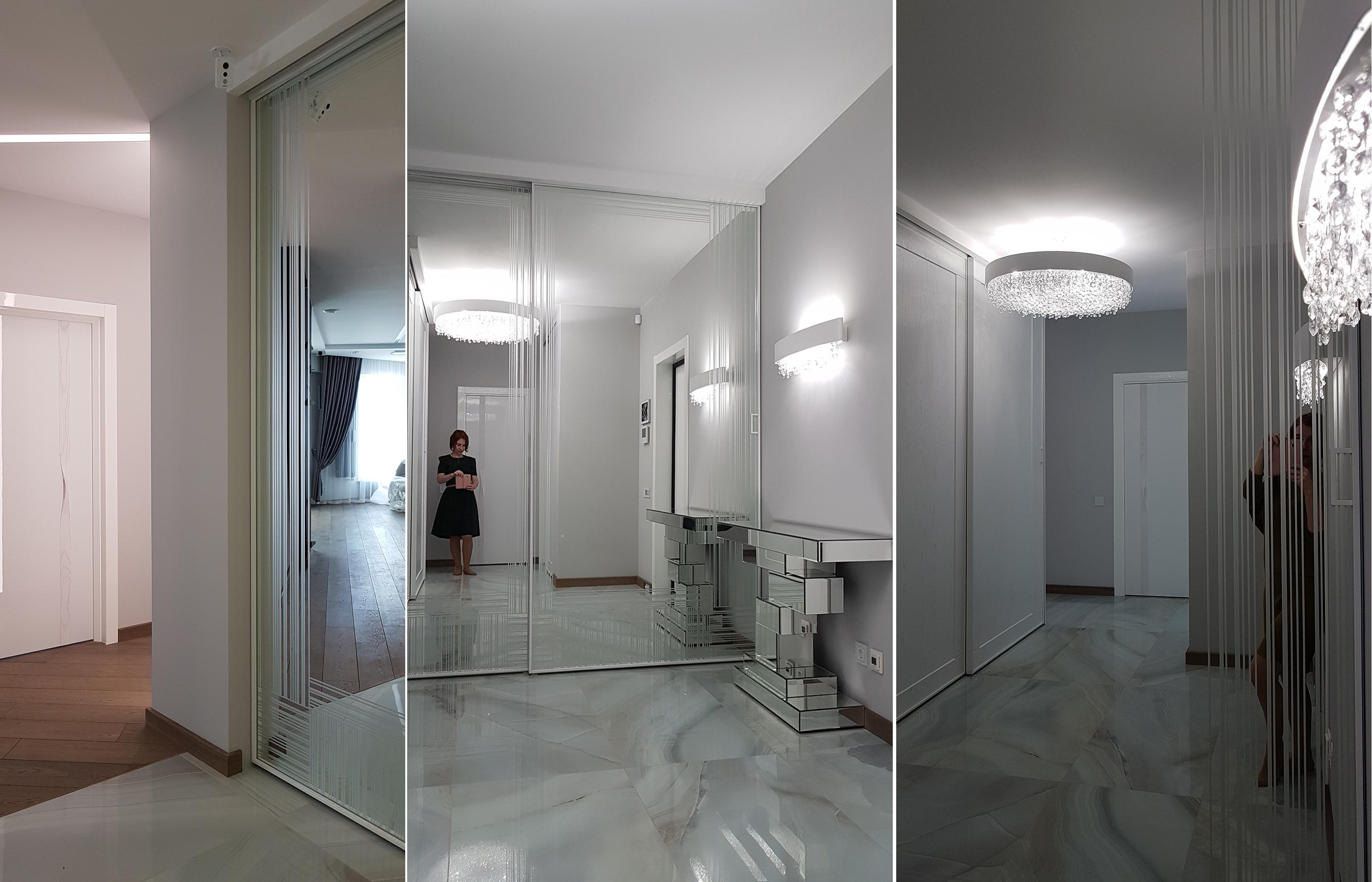 Дизайн интерьера холла в оттенках белого