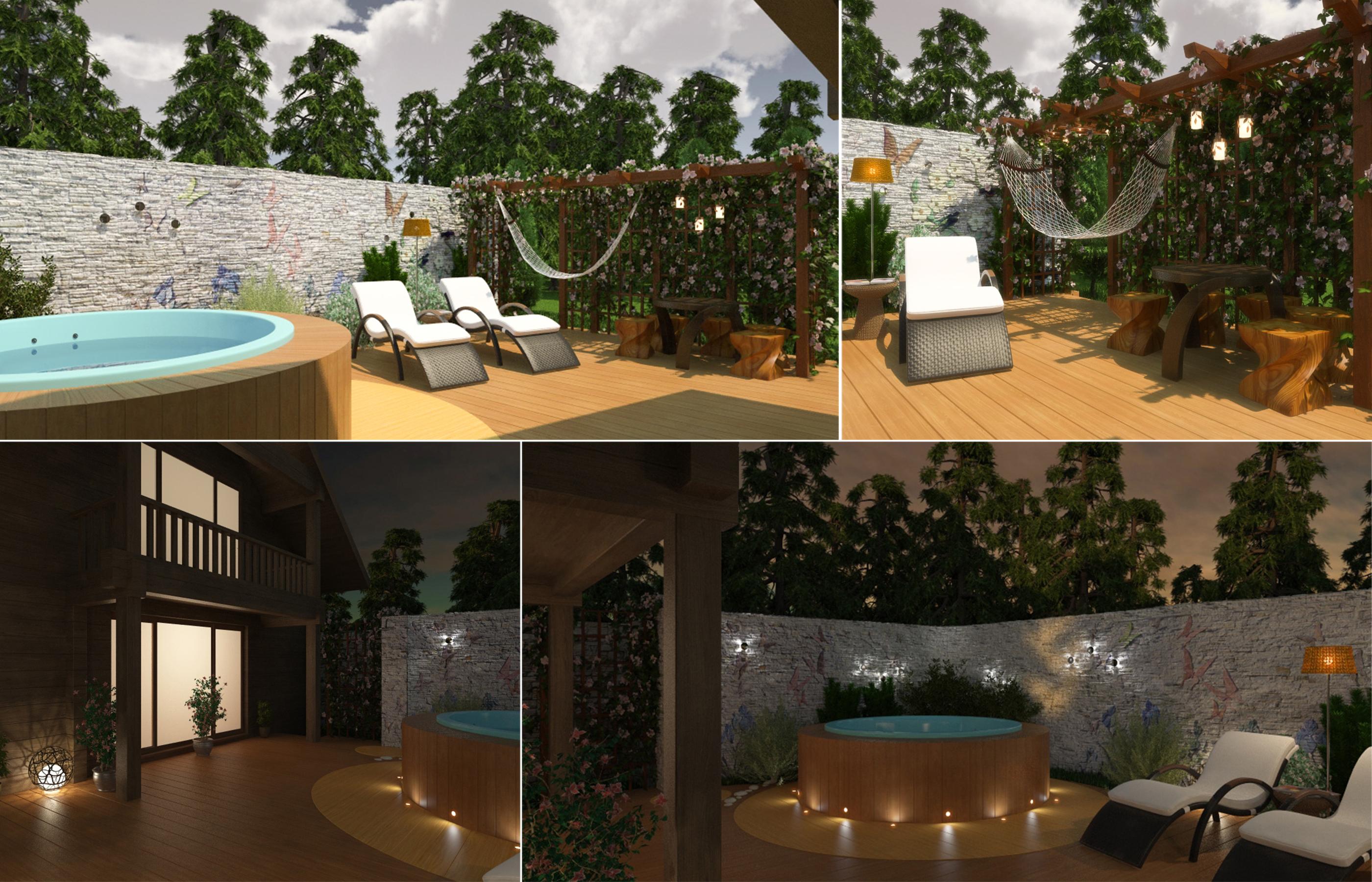 Дизайн открытой Спа-зоны в загородном доме