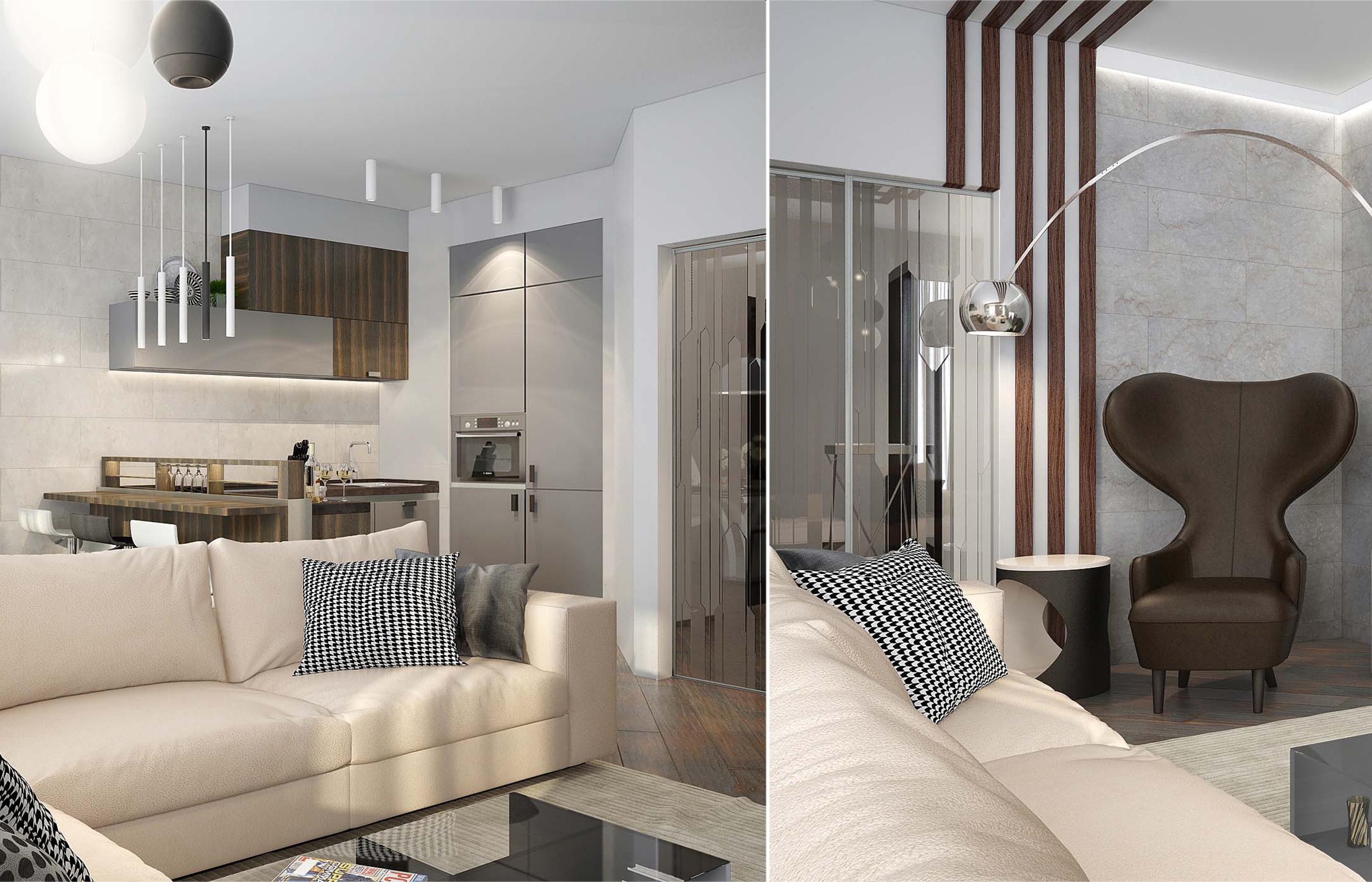 Стеклянные раздвижные двери в интерьере кухни-гостиной