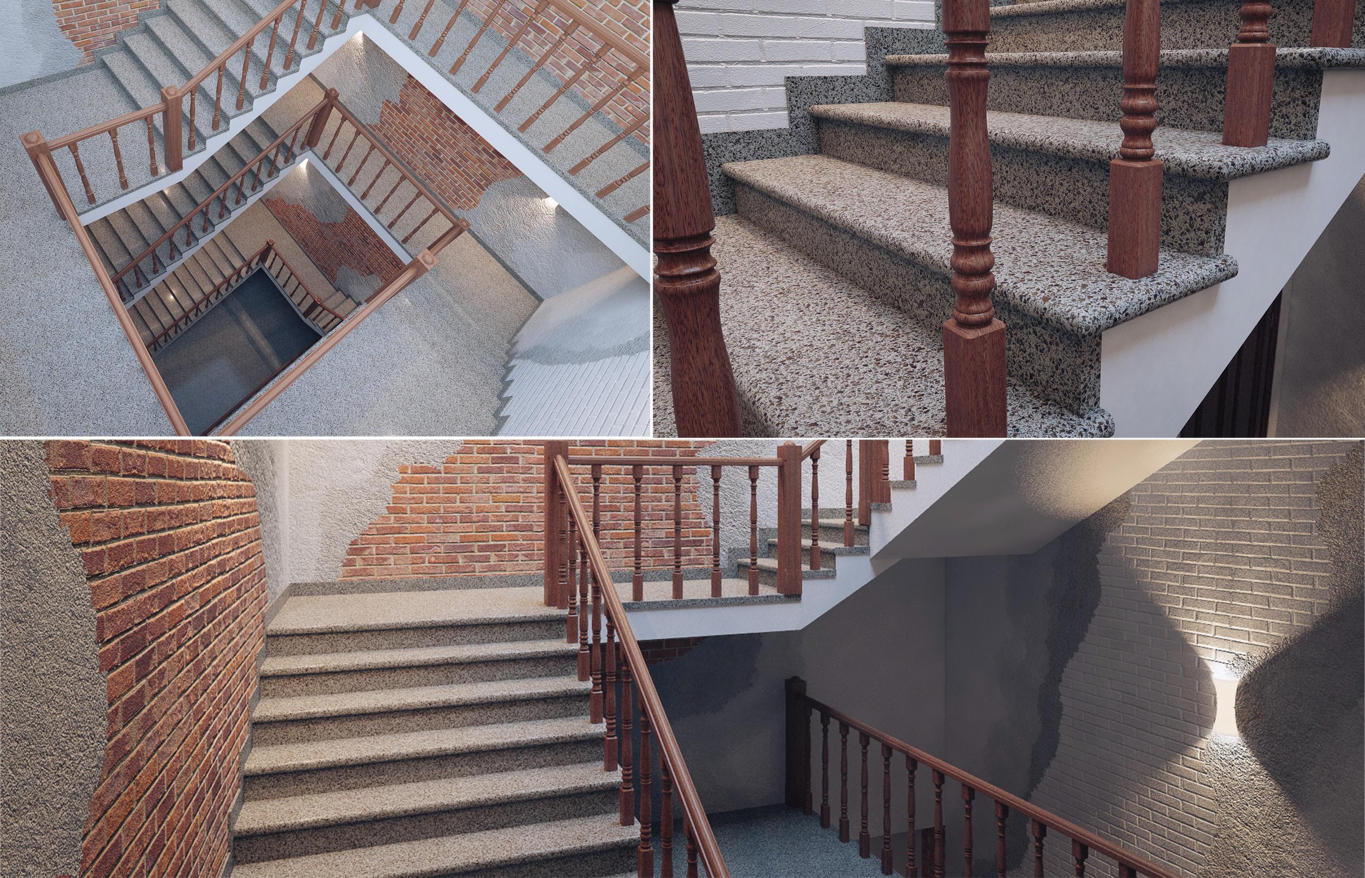 Проект интерьера лестницы со ступенями отлитыми из бетона