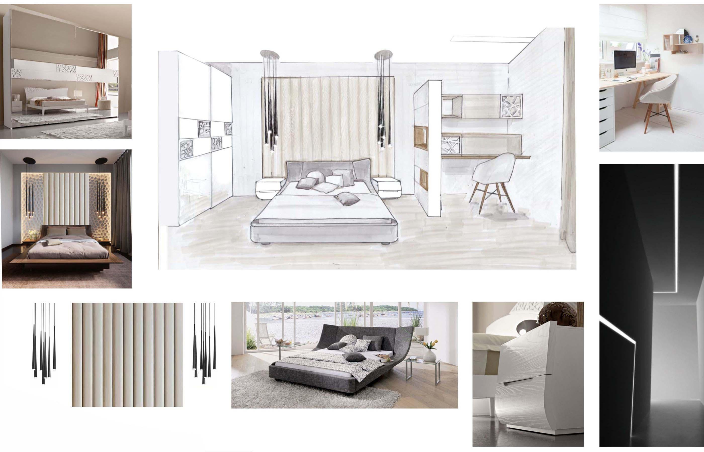 Дизайн интерьера спальни, разделенной на две зоны