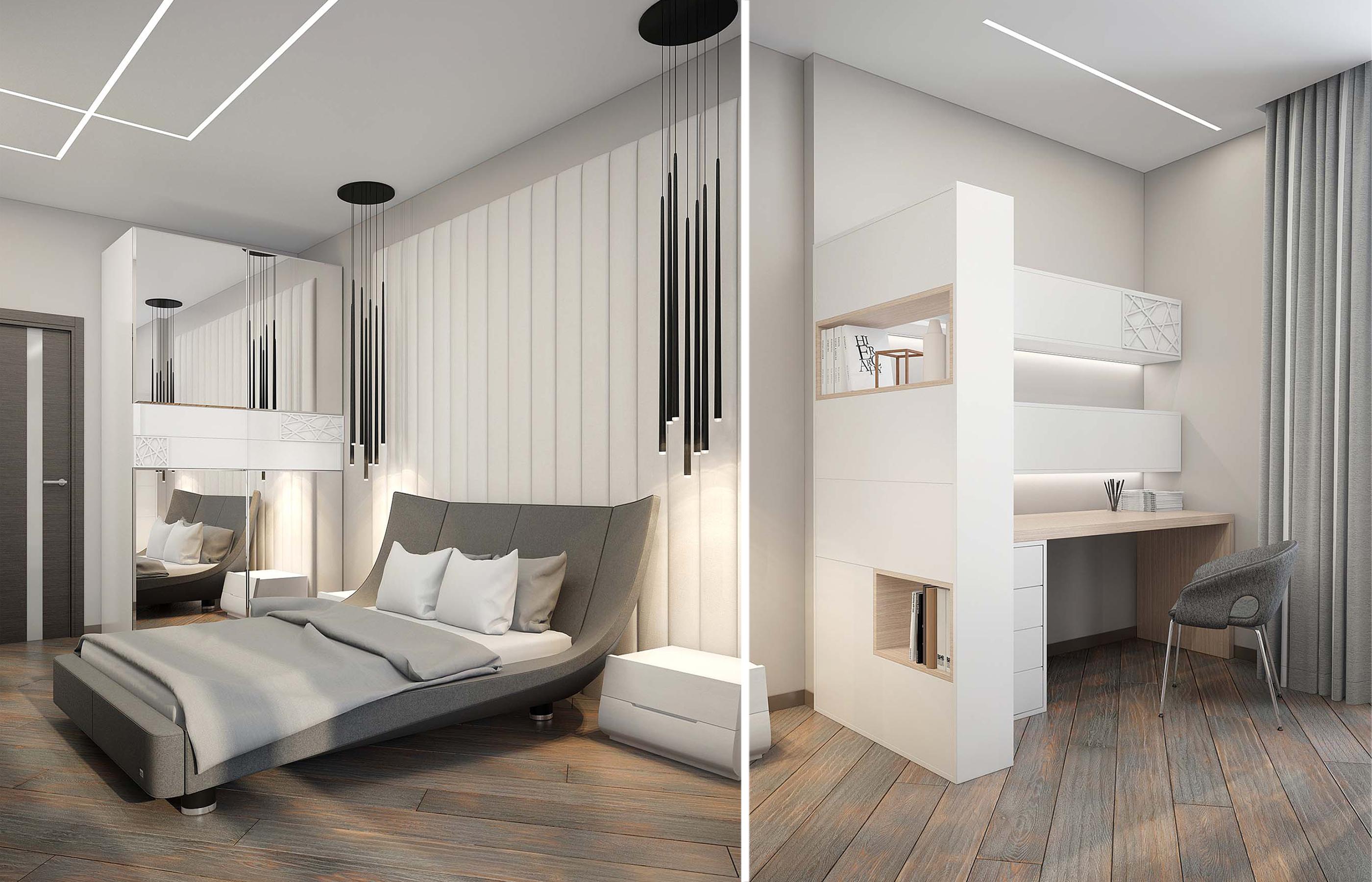 Рабочая зона и зона отдыха в интерьере спальни
