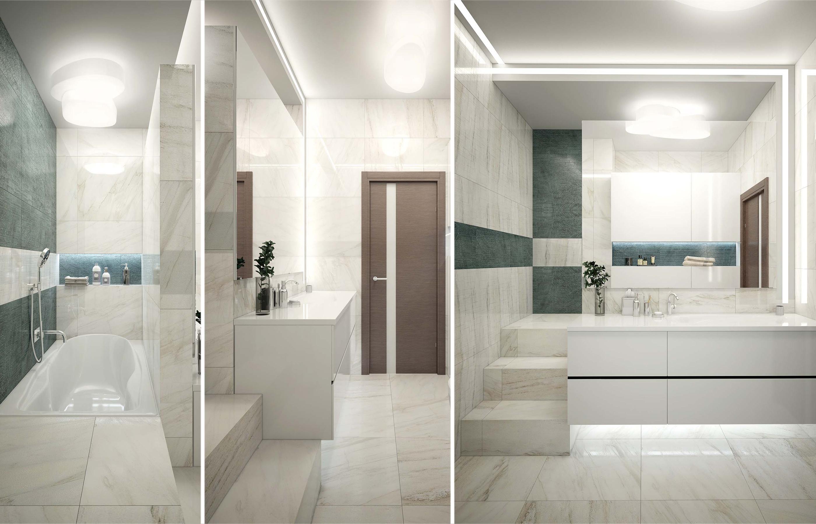 Дизайн интерьера ванной комнаты, разделенной зеркальной перегородкой