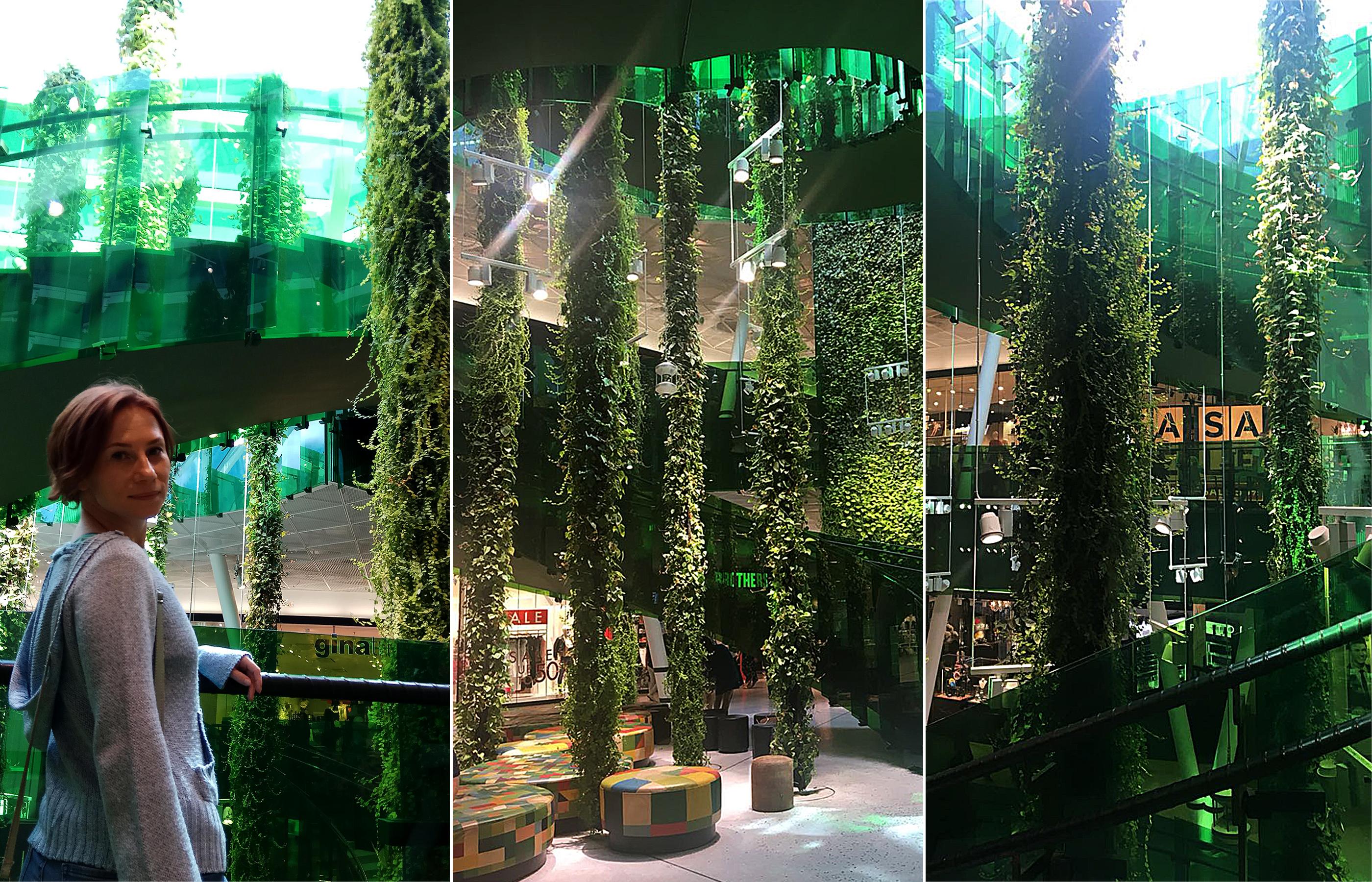 Вертикальное озеленение атриума в торговом центре Emporia в Мальмё, Швеция