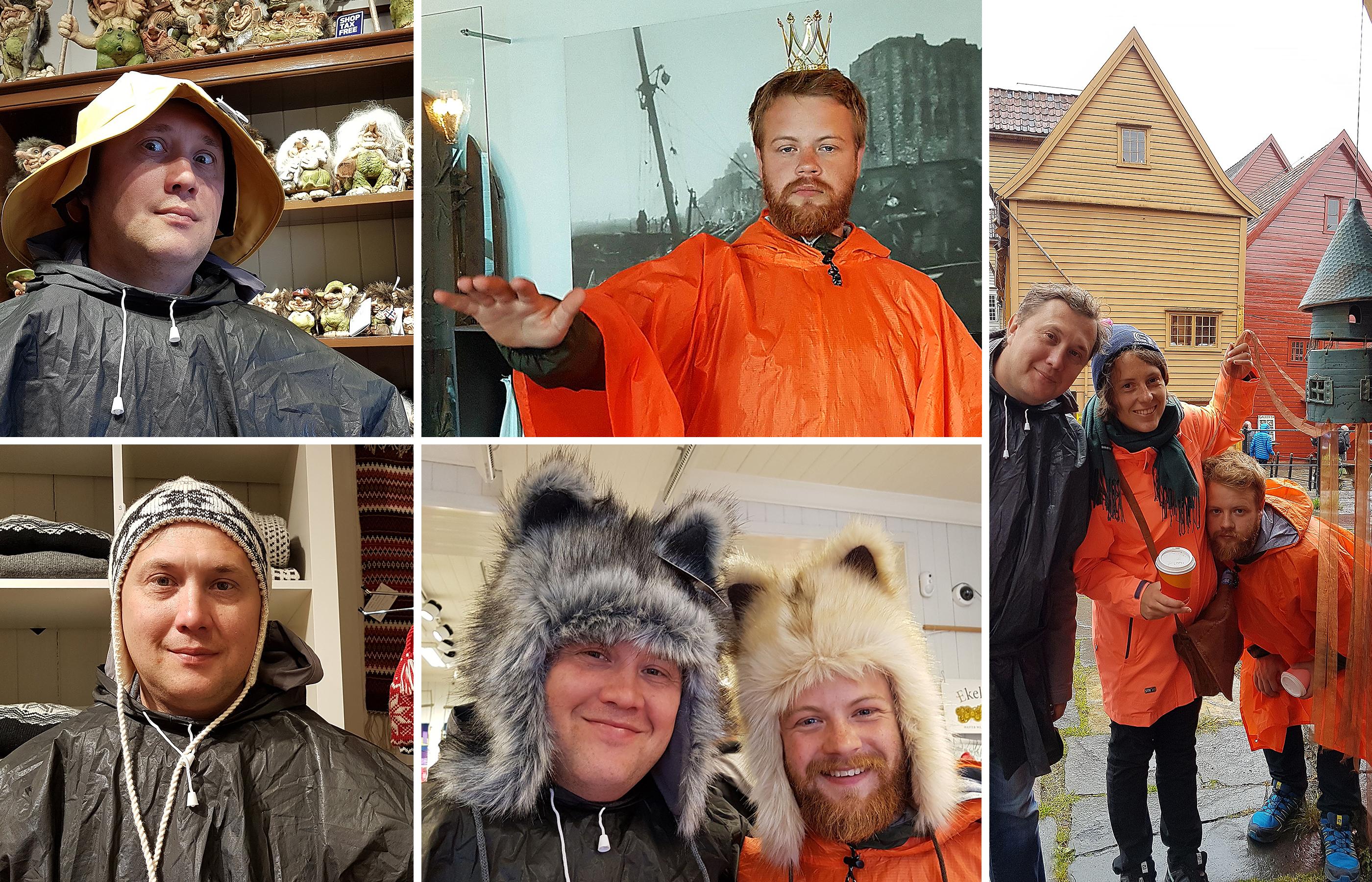 Головные уборы здесь представлены на любой вкус: от традиционных вязаных норвежских шапок до рогатого украшения короля норвежских лесов