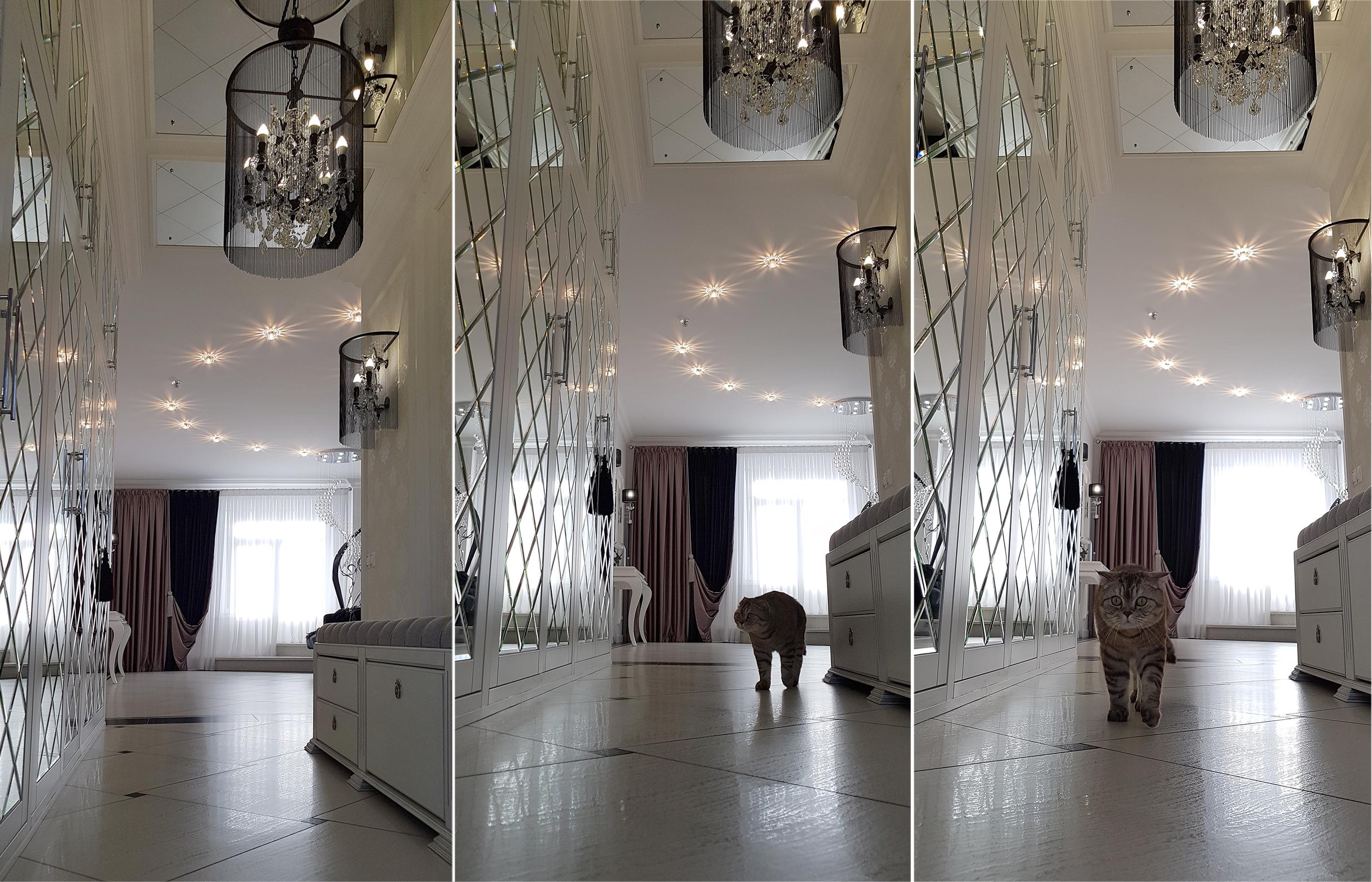 Зеркальные дверцы шкафа в прихожей позволяют визуально расширить пространство этого неширокого помещения