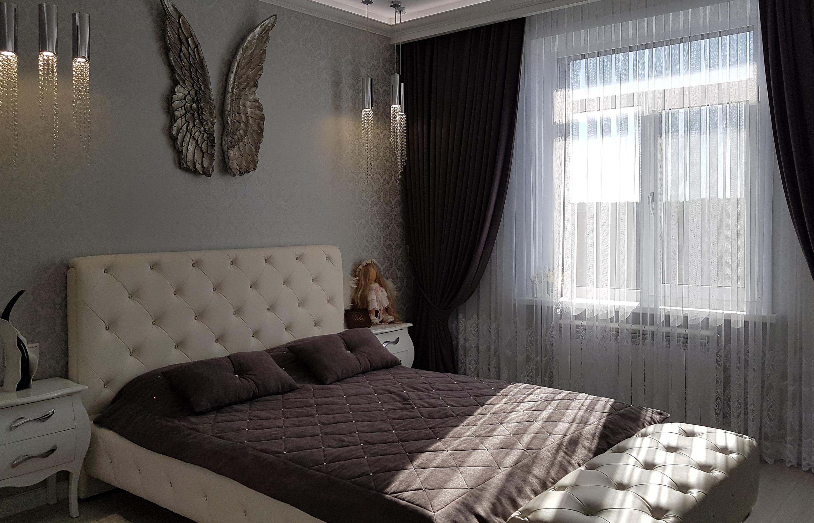 Интерьер гостевой спальни в жемчужно-серых тонах