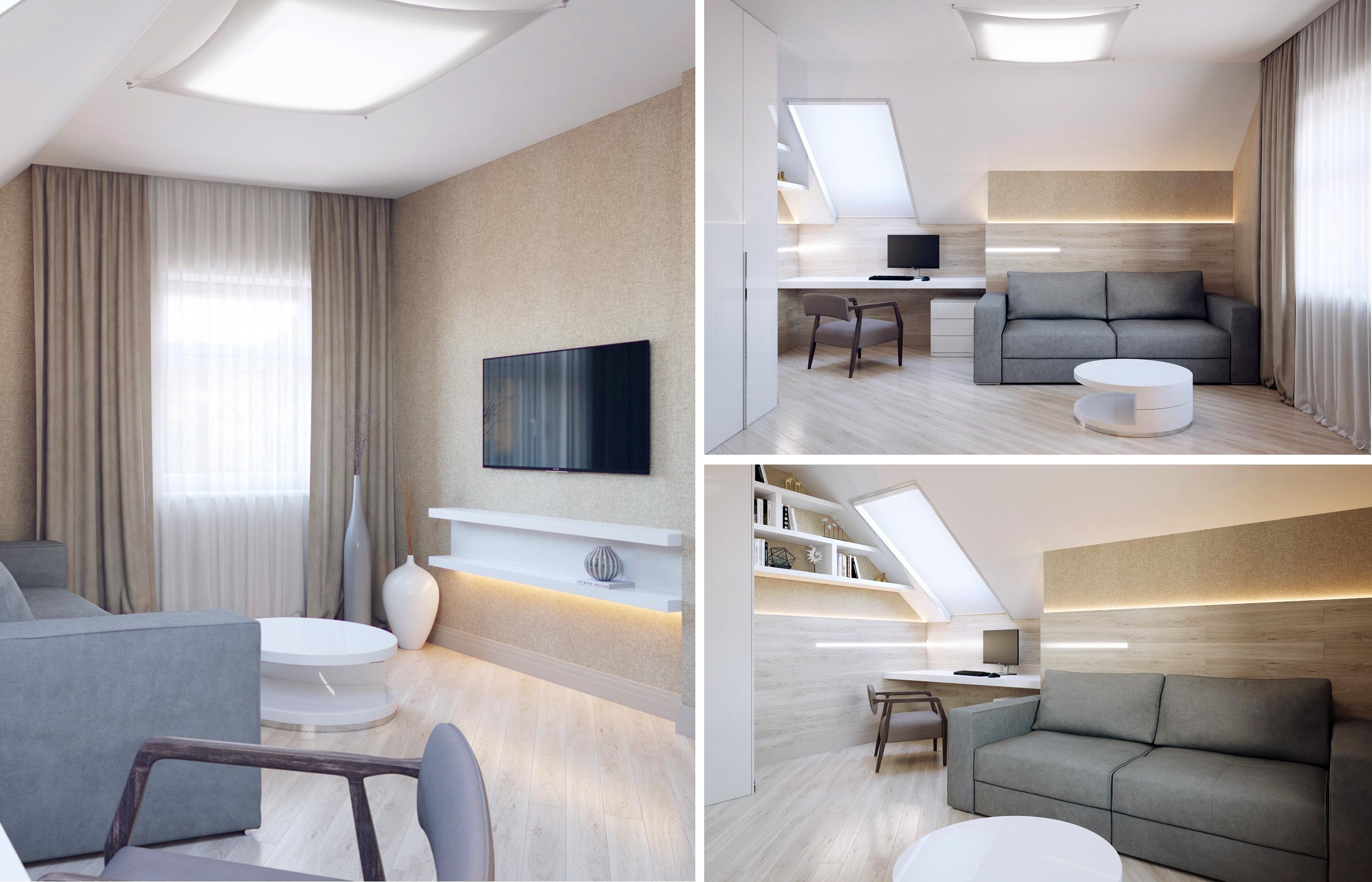 Дизайн интерьера кабинета в доме с мансардным потолком