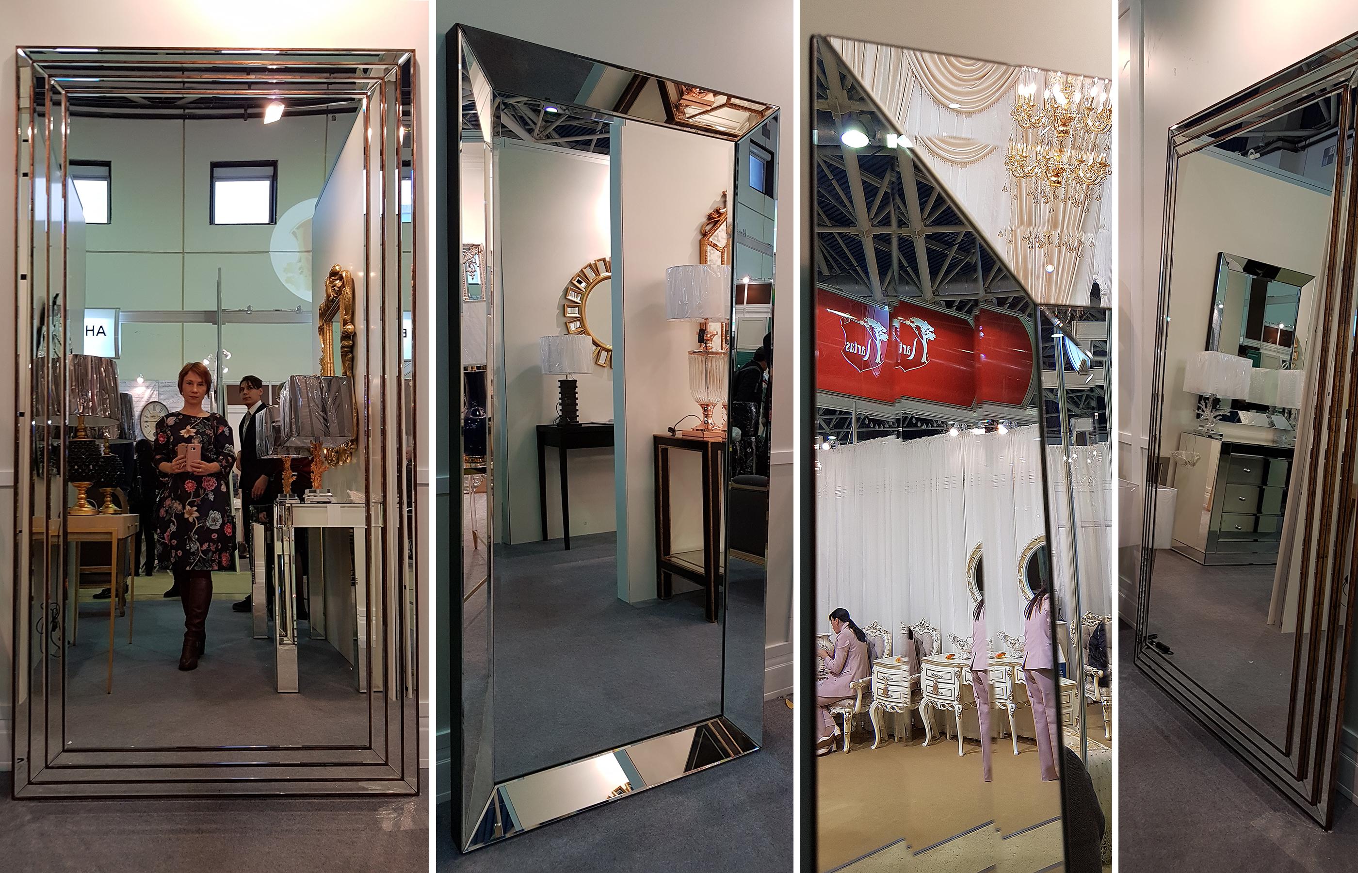 Примеры больших ростовых зеркал, обрамленных зеркальными рамами с фацетом