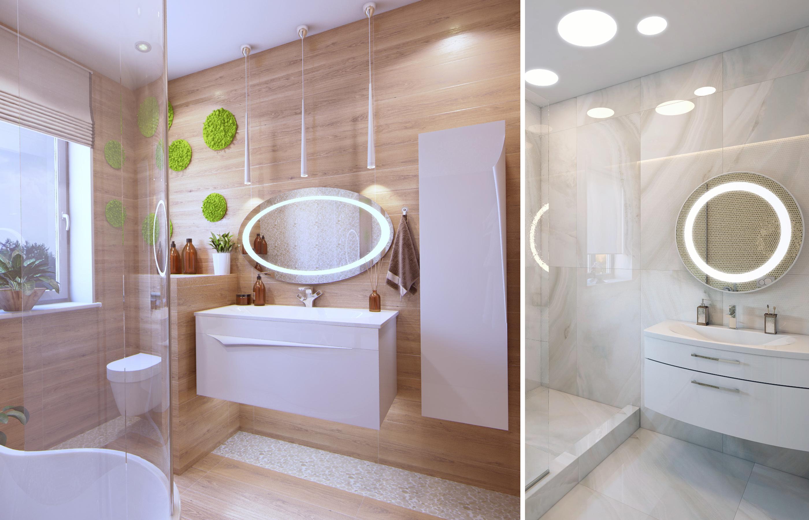 Зеркала со встроенной фронтальной подсветкой в интерьере ванной комнаты