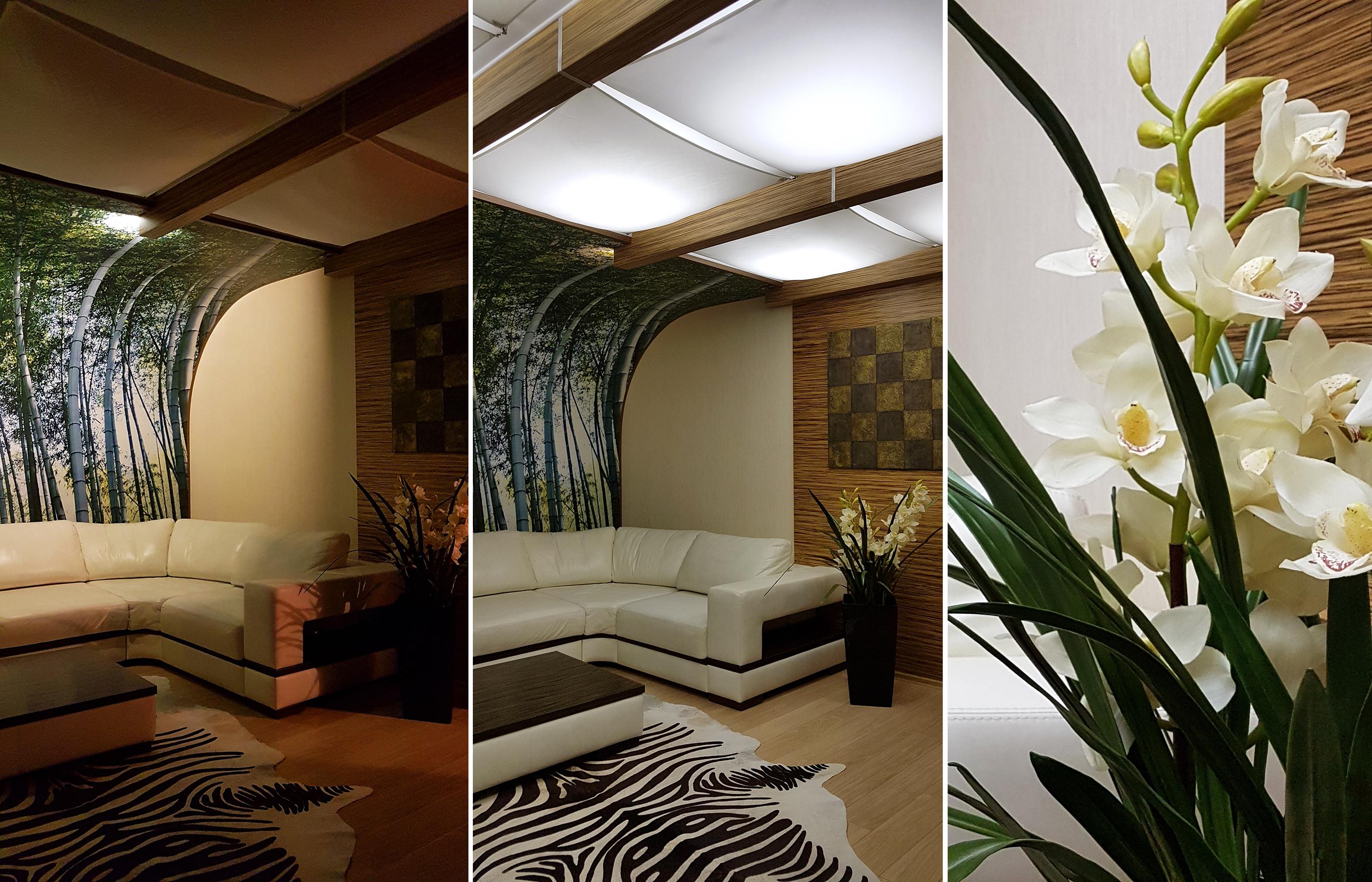 Светильники B-Luxe напоминают паруса и создают мягкое рассеянное освещение в гостиной