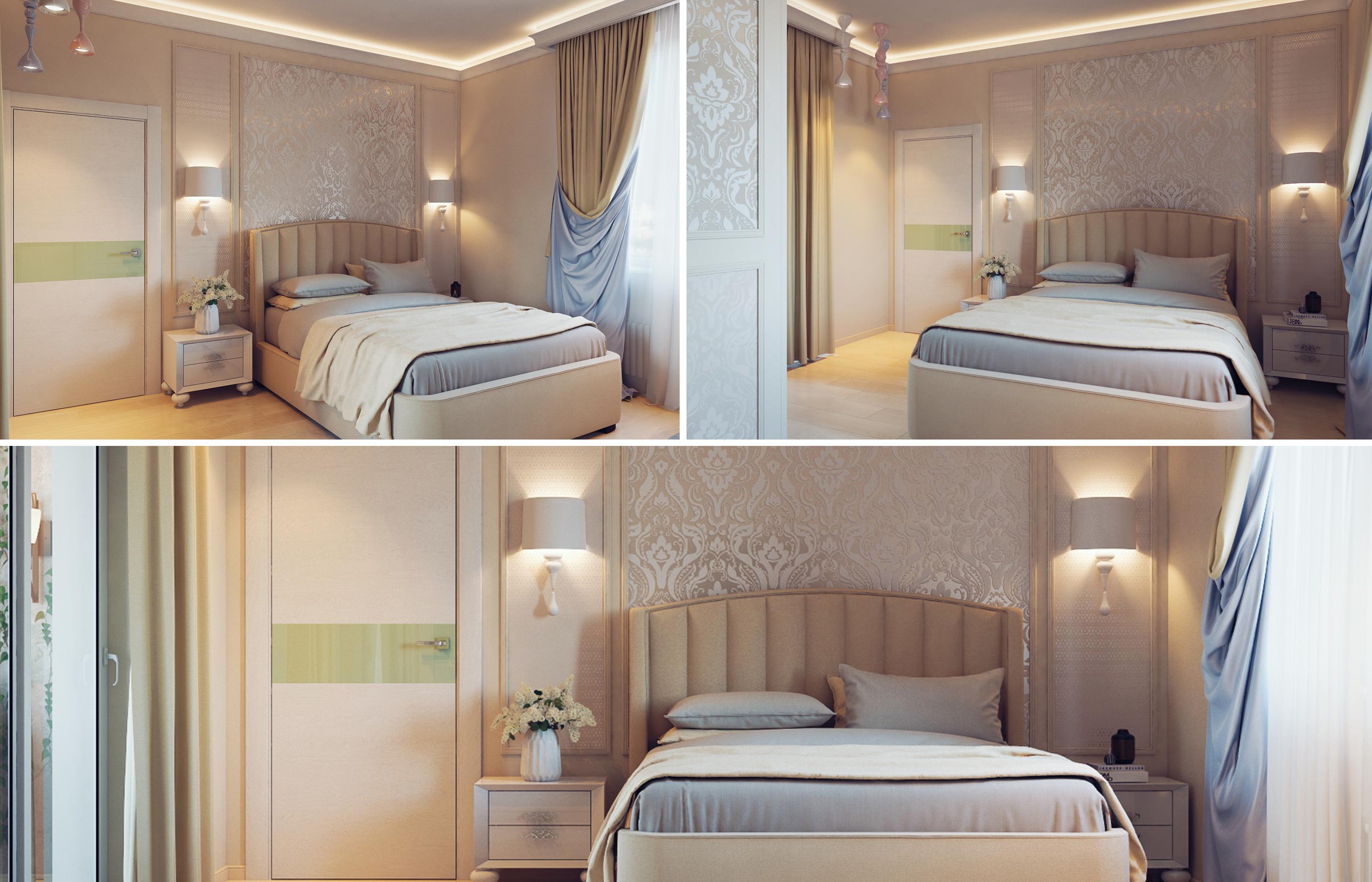 Дизайн интерьер спальни в сливочных оттенках
