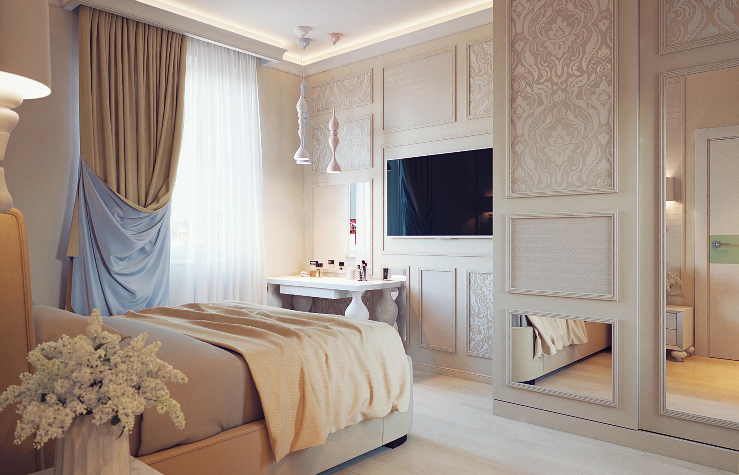 Шкаф-невидимка в интерьере спальни