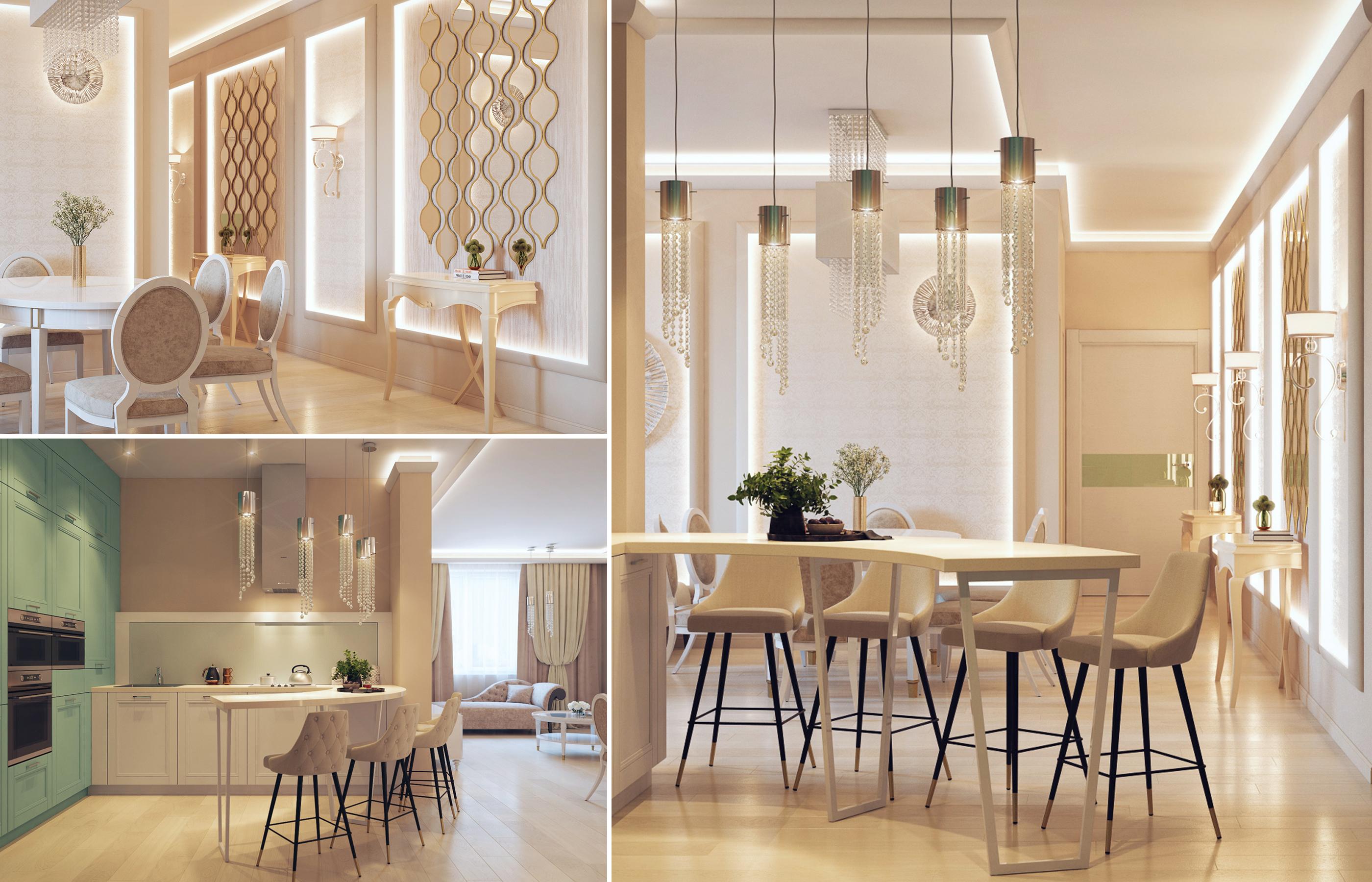 Зеркальные панно в интерьере кухни-гостиной