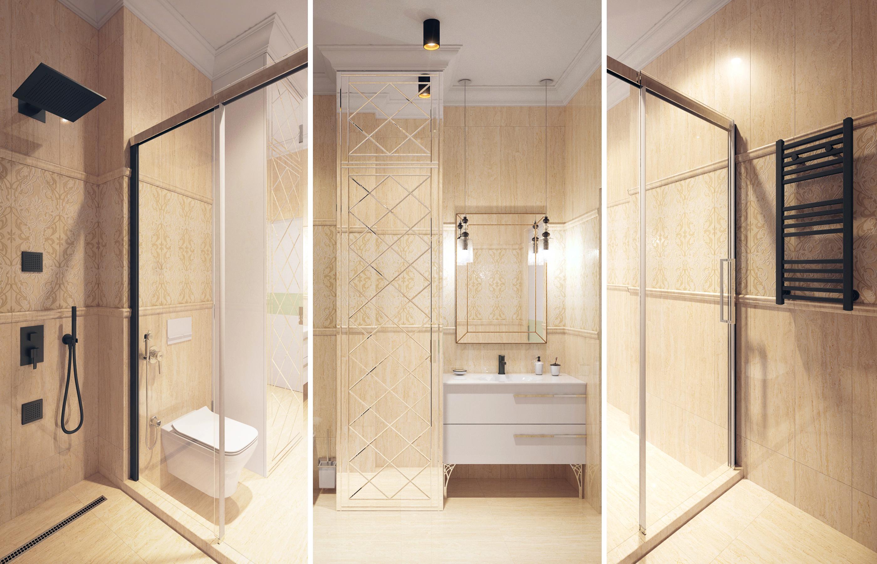 Черный смеситель и черный контур душевой перегородки придают строгую графичность интерьеру ванной комнаты