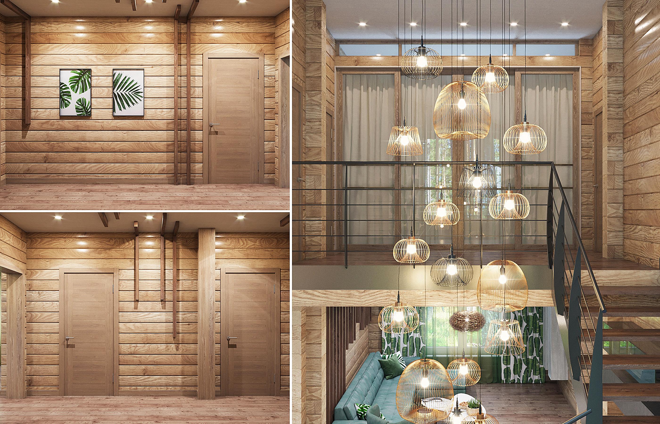Интерьер прихожей и лестничного холла в деревянном доме