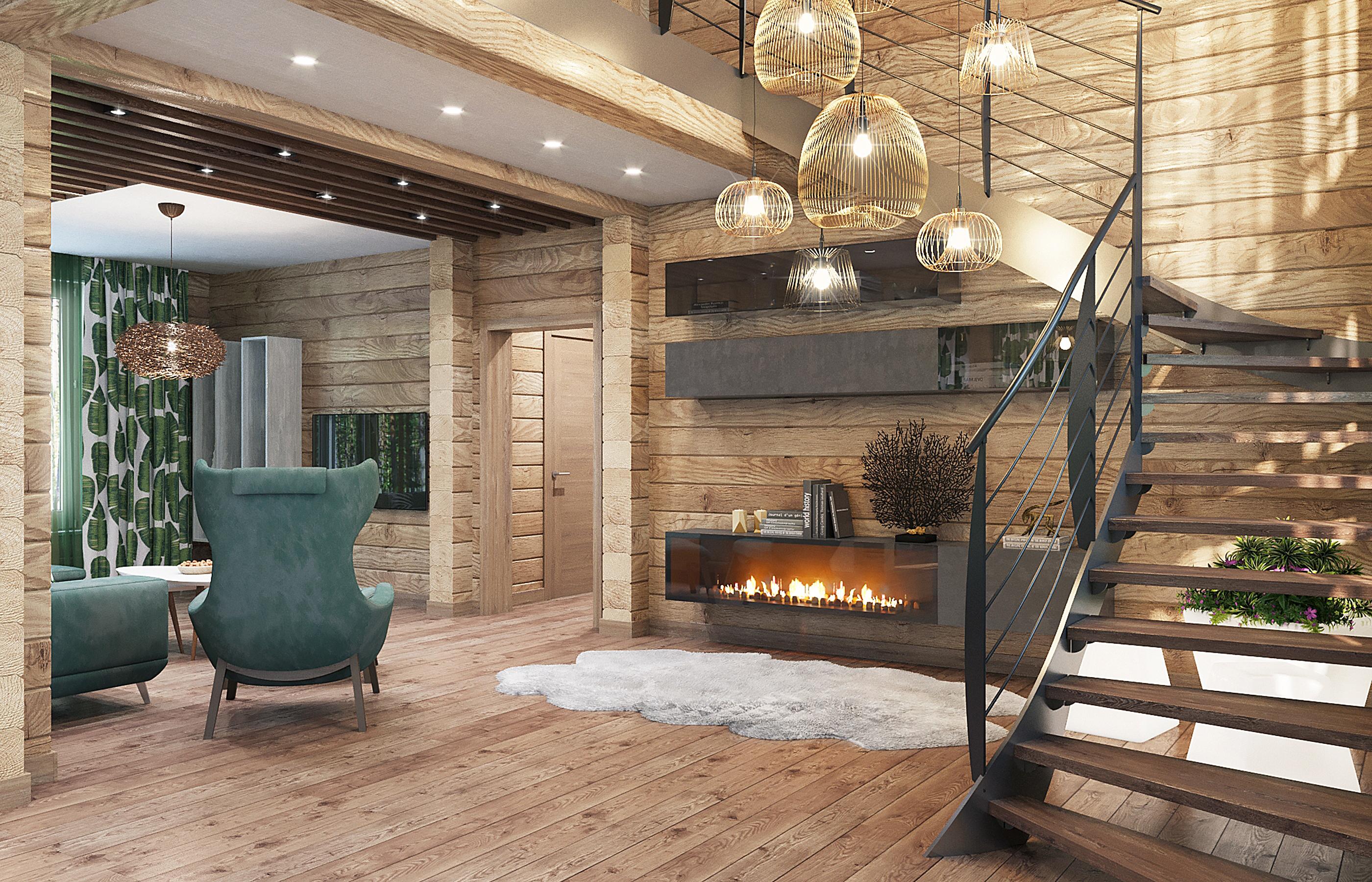 Лестница на металлическом каркасе в интерьере деревянного дома