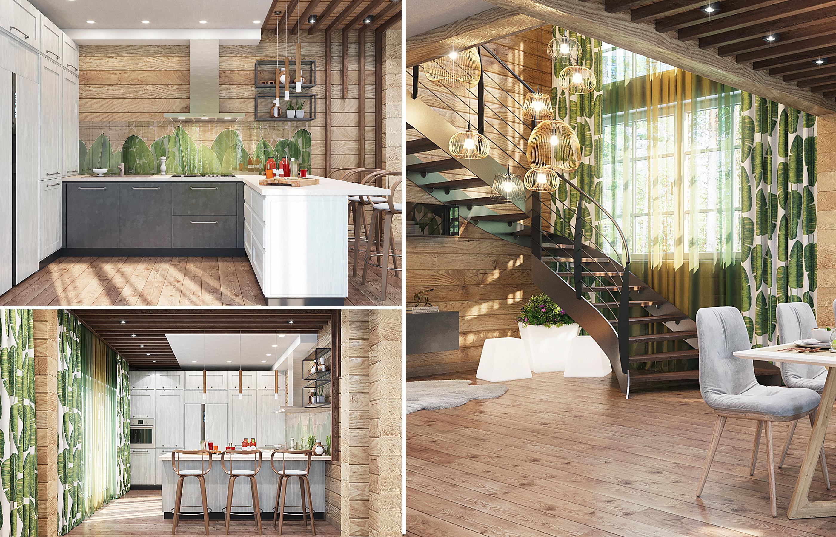 В оформлении интерьера кухни использованы принты с экзотическими листьями