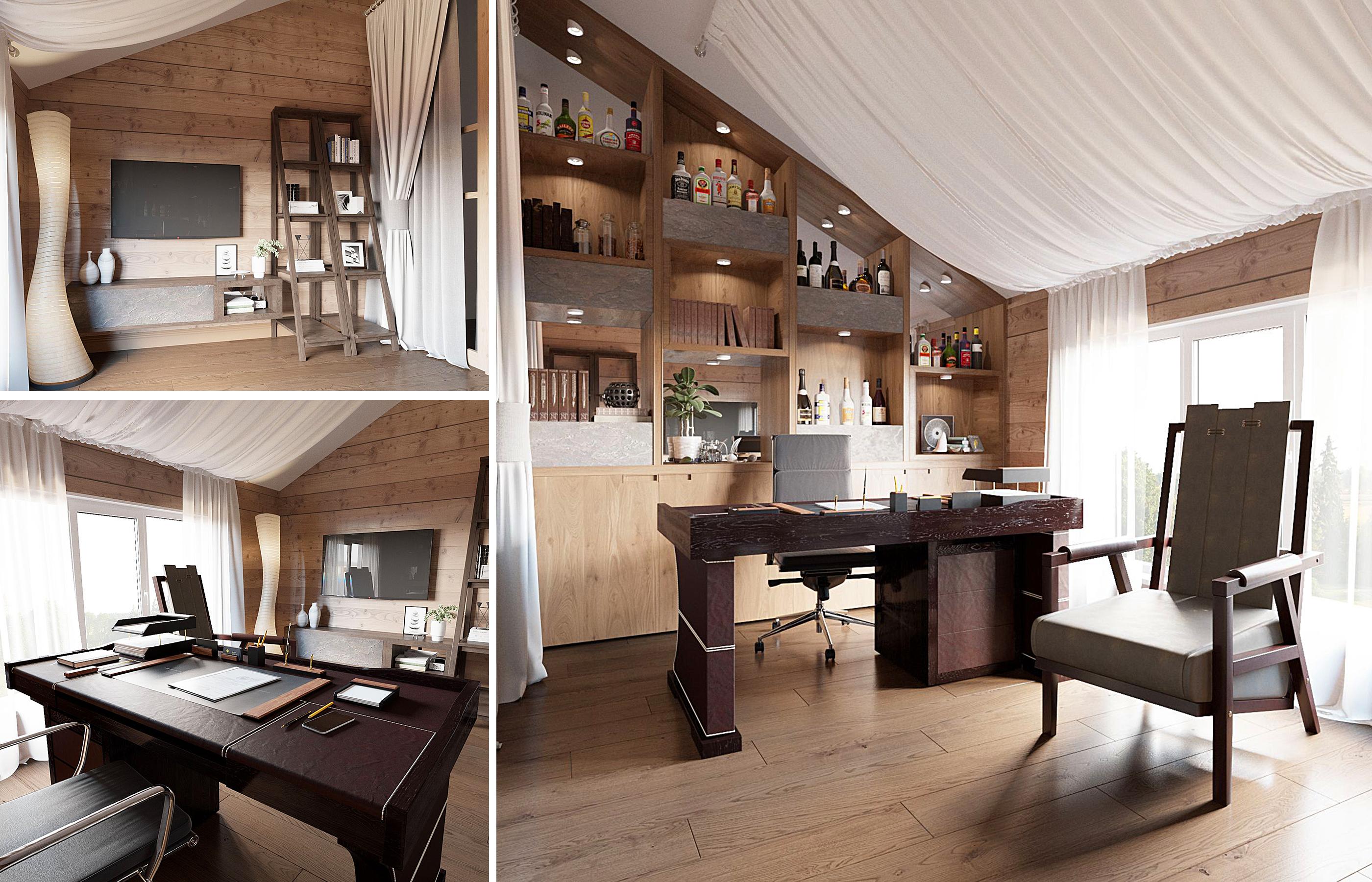 Тканевая драпировка смягчает жесткие формы деревянных потолочных конструкций на потолке