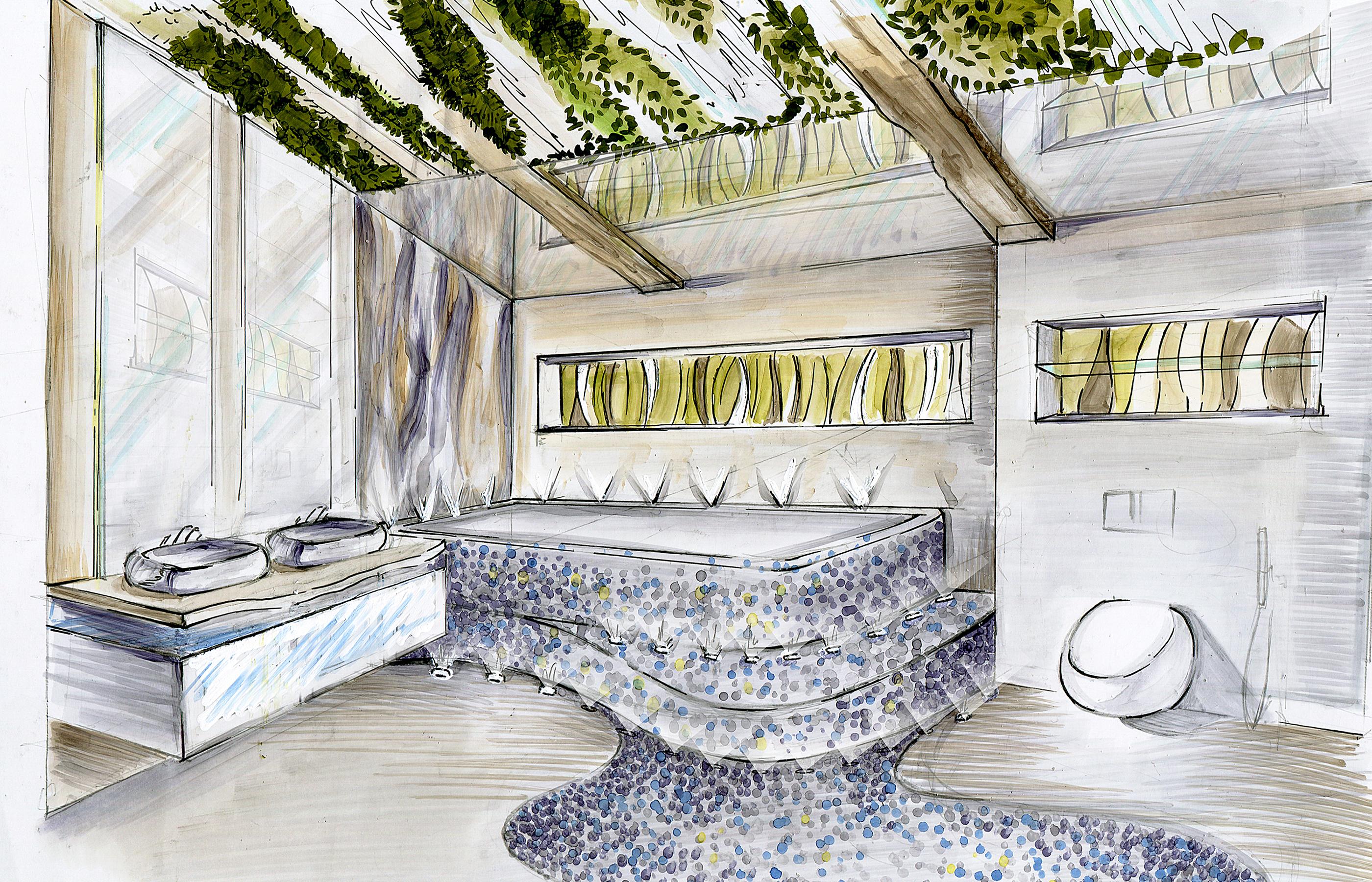 Теплая дорожка, теплые ступеньки, натуральные материалы. Ванная комната в деревянном доме