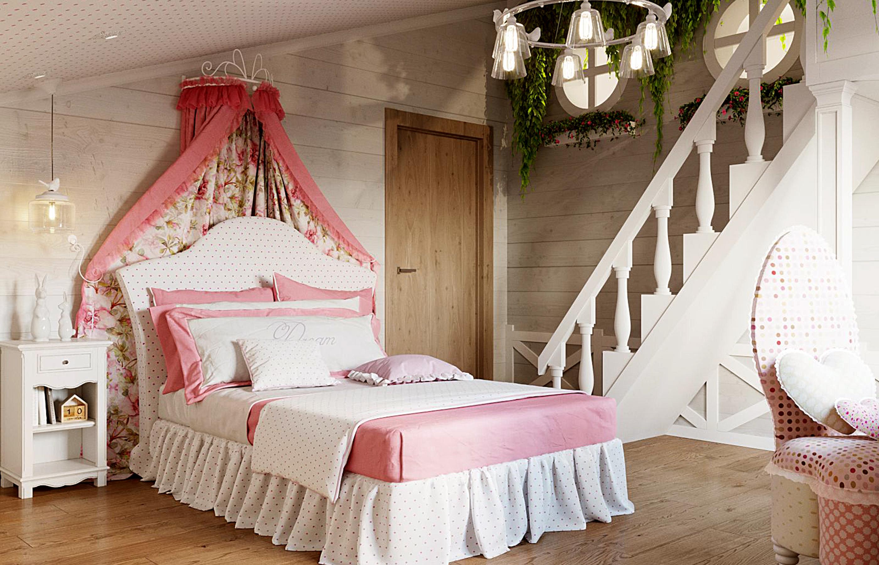 Лесенка ведет в секретный домик под самой крышей. Дизайн интерьера комнаты девочки в деревянном доме