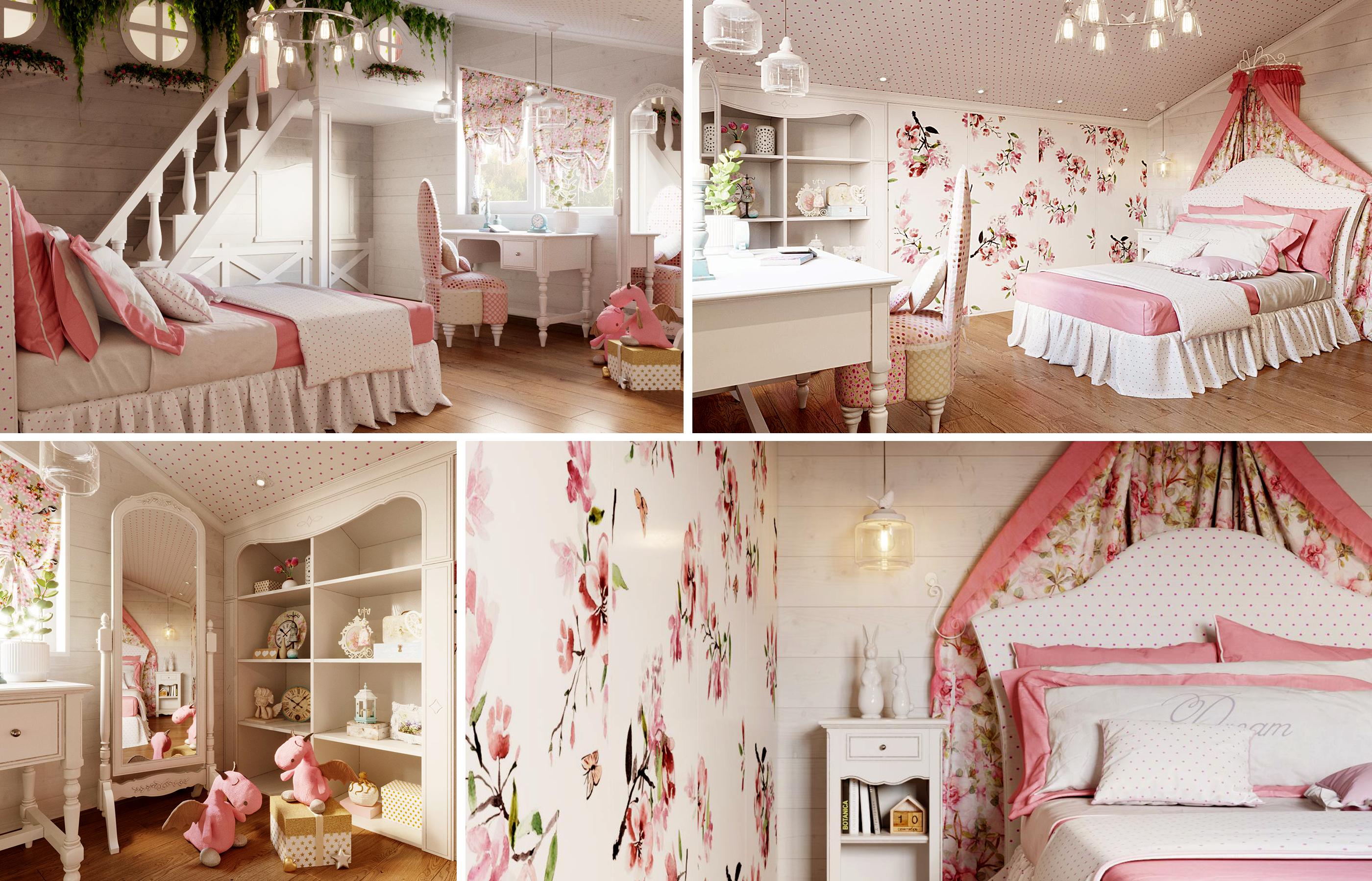 Дизайн интерьера детской в доме из бруса