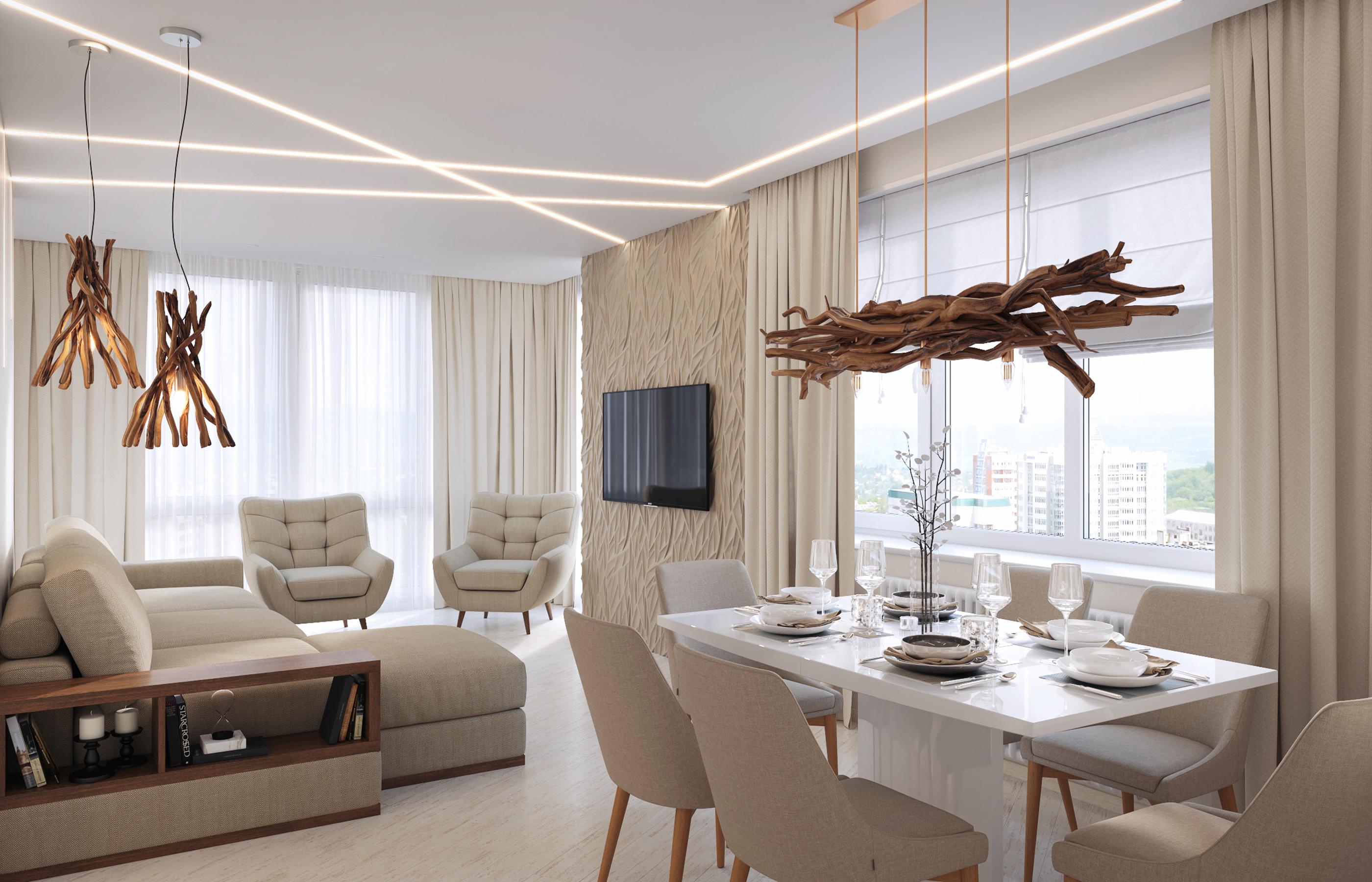 Дизайн интерьера гостиной в минималистичном стиле, но при этом, в теплой цветовой гамме