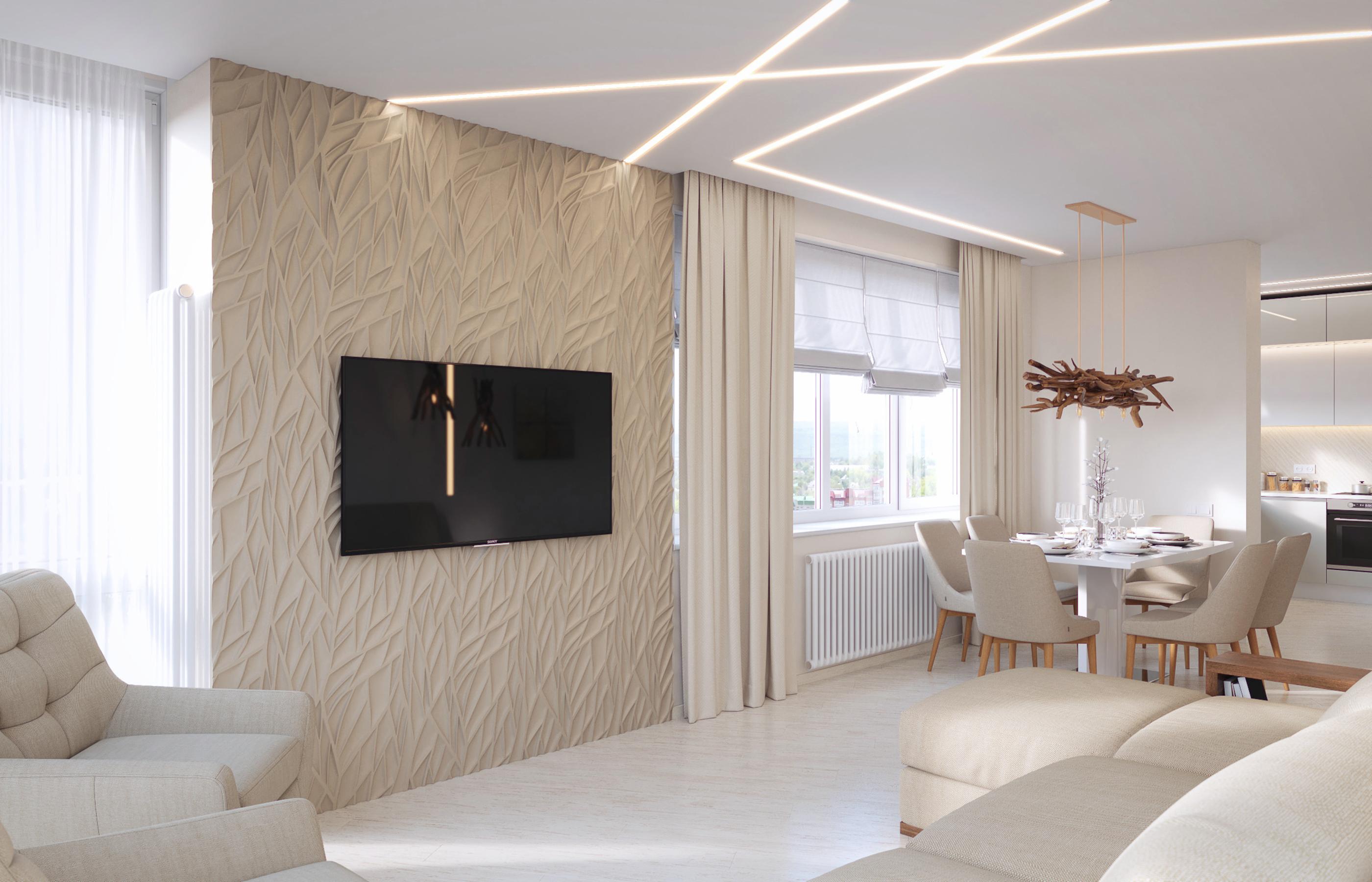 Гипсовая 3Д панель в интерьере гостиной