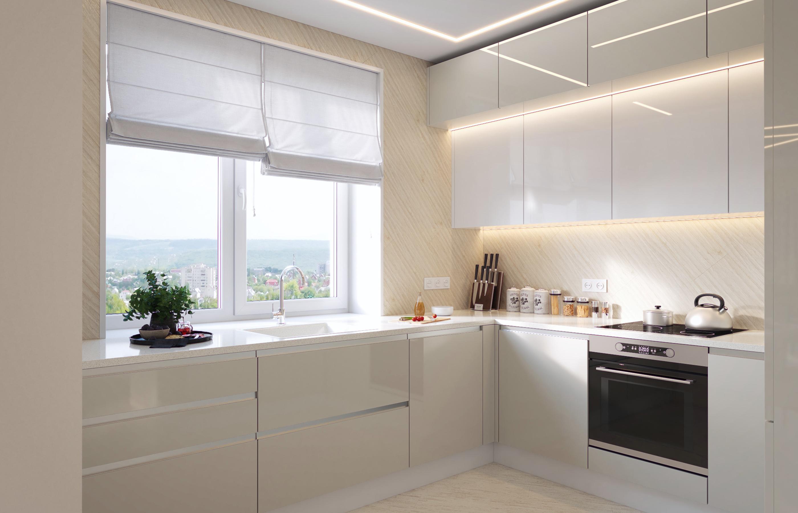 Минимализм интерьера кухни обогащен красивым видом из окна на панораму Казани