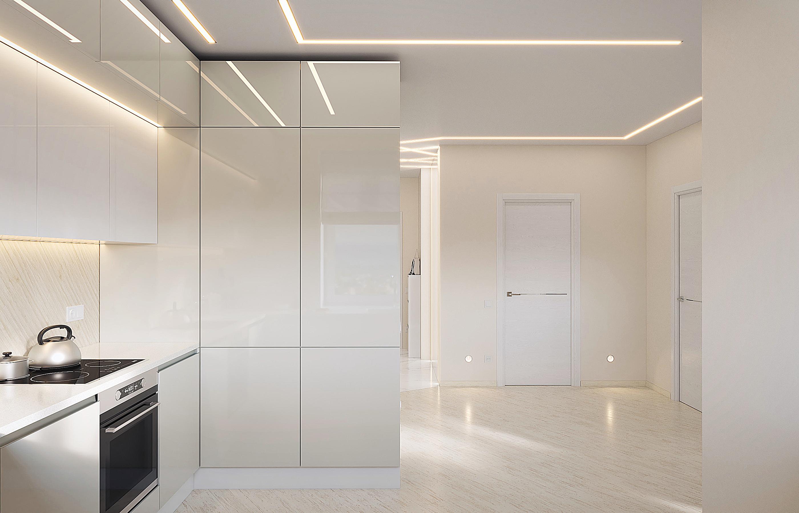 В интерьере кухни нет ничего лишнего, все хозяйственные вещи спрятаны за лаковыми фасадами