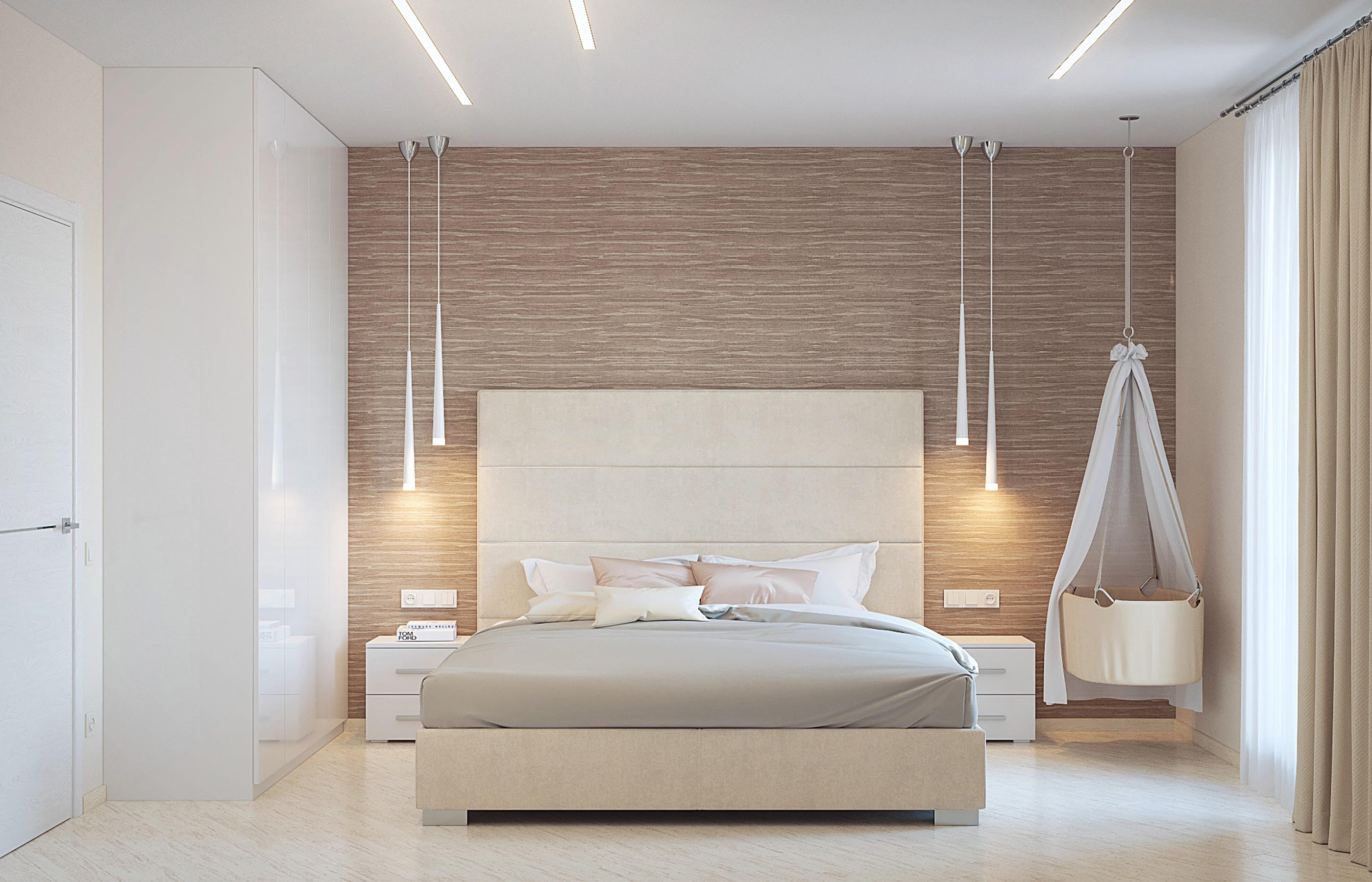 Велюр и замша придают теплоту интерьеру спальни в стиле минимализм
