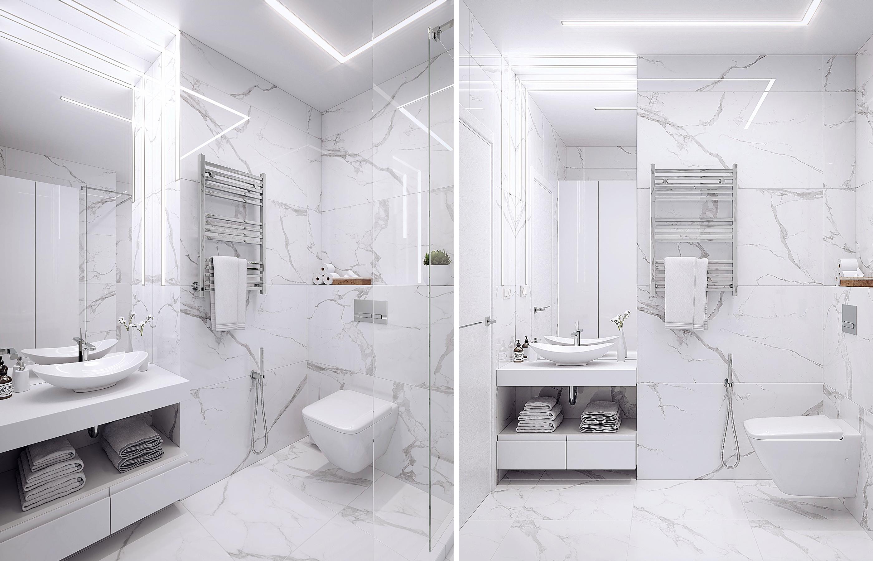 Стены ванной комнаты отделаны крупно-форматным керамогранитом с фактурой мрамора