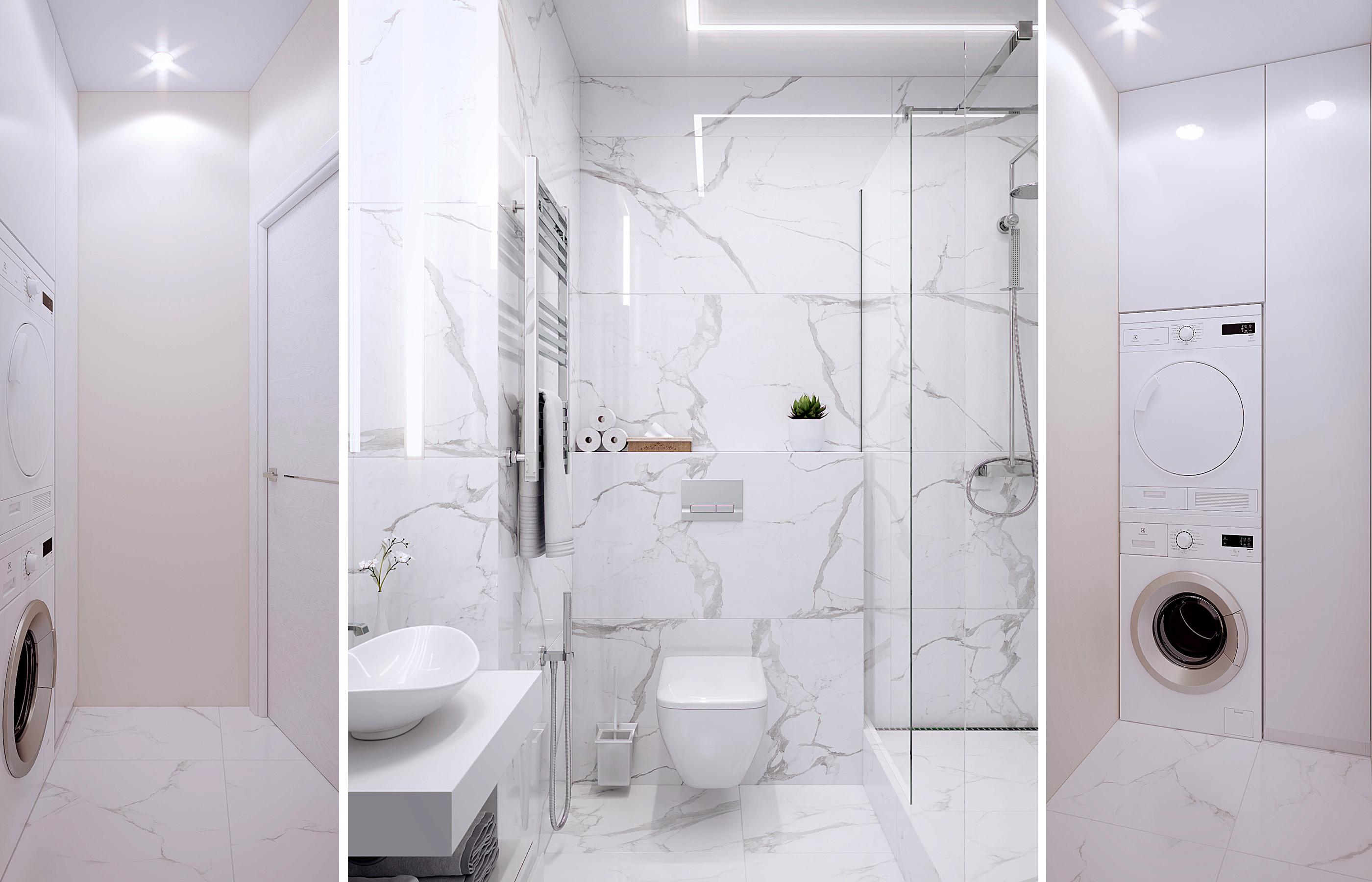 Интерьер прачечной выполнен в той же гамме что и ванна. Но стены сдезь просто покрашены краской, стойкой к истиранию