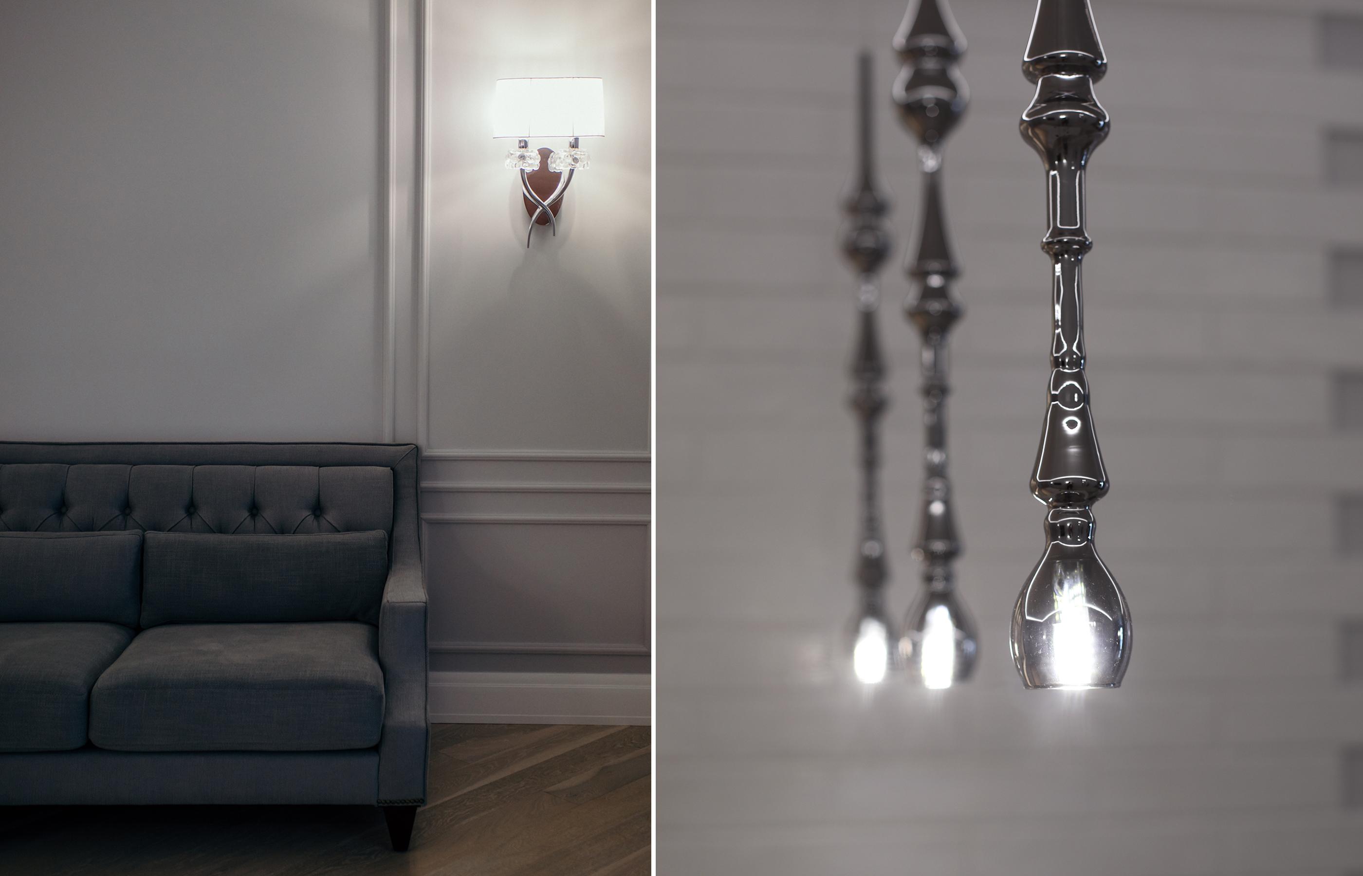 Окрашенные в нейтральный серый цвет стены позволяют изменятся цветовым оттенкам в интерьере, в зависимости от освещения за окном