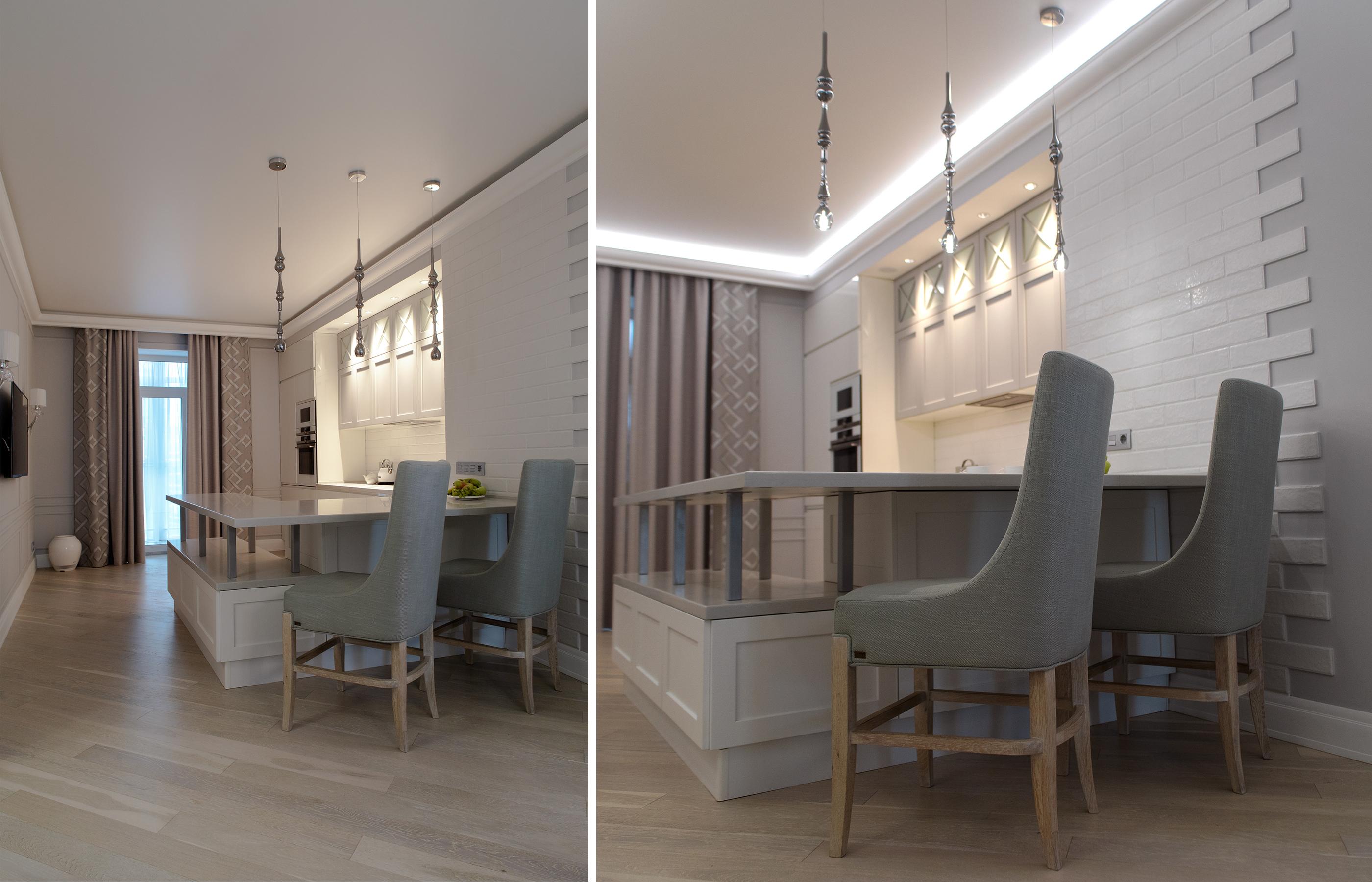 Светильники сложной формы из дымчато-серебристого стекла элегантно дополняют сдержанный интерьер кухни украшением
