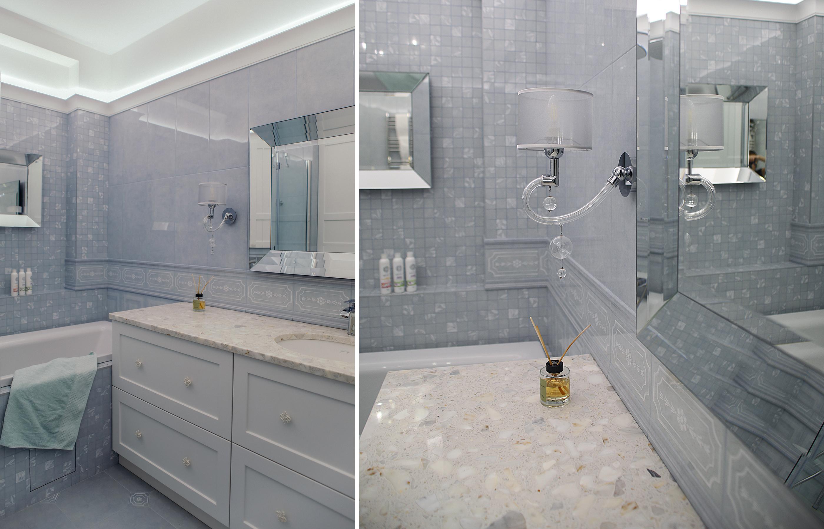 Интерьер ванной комнаты в неоклассическом стиле