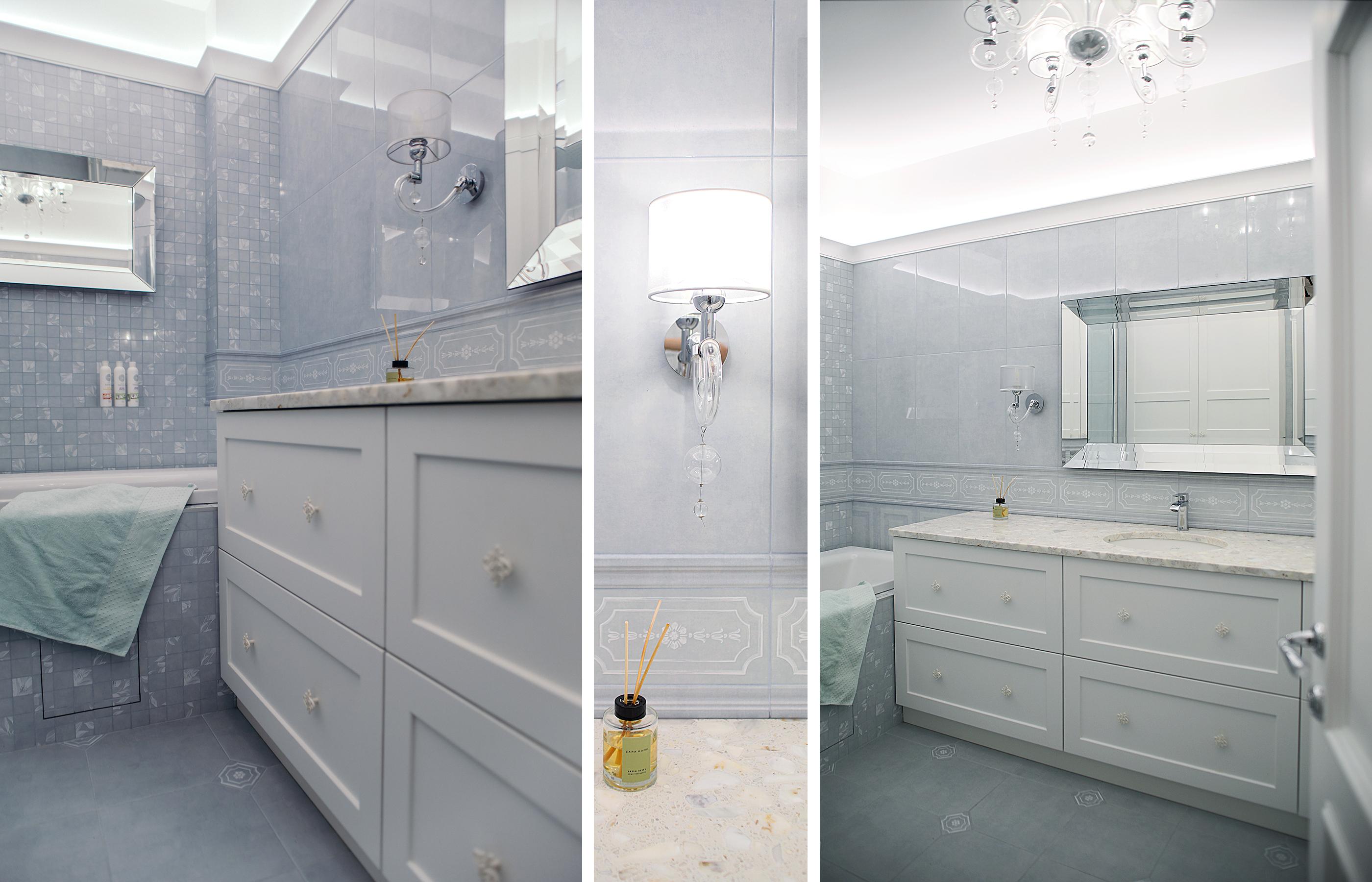 Главное требование хозяйки к интерьеру ванной комнаты: большая столешница и много ящиков для хранения вещей.