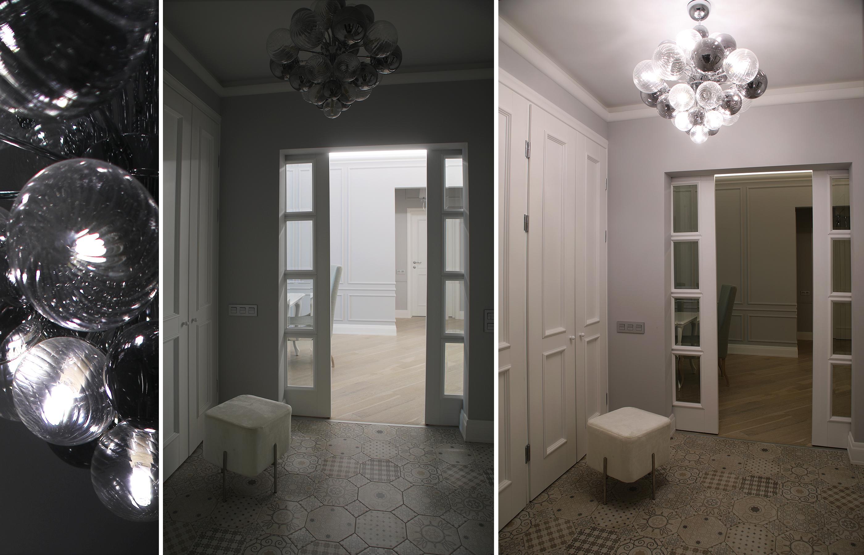 Сложно орнаментированный пол и стеклянные шары футуристичной люстры - акценты позволяющие создать неординарную атмосферу уже на входе в квартиру